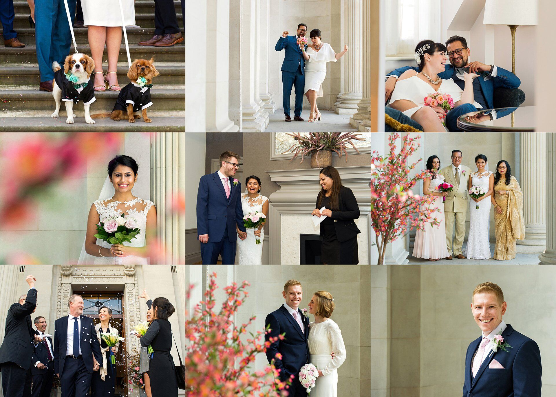 Wedding Photographer Spotlight Old Marylebone Town Hall - Emma Duggan Photography (Westminster Register Office) - A set of nine wedding photographs depicting weddings photographed at Old Marylebone Town Hall by Emma Duggan Photography in Spring 2018 including two dogs as ring bearers, a couple celebrating under the fluted columns, a bride through the Spring flowers outside the entrance, a Mayfair Room ceremony, a family group, confetti after a Pimlico ceremony, and a smiling groom