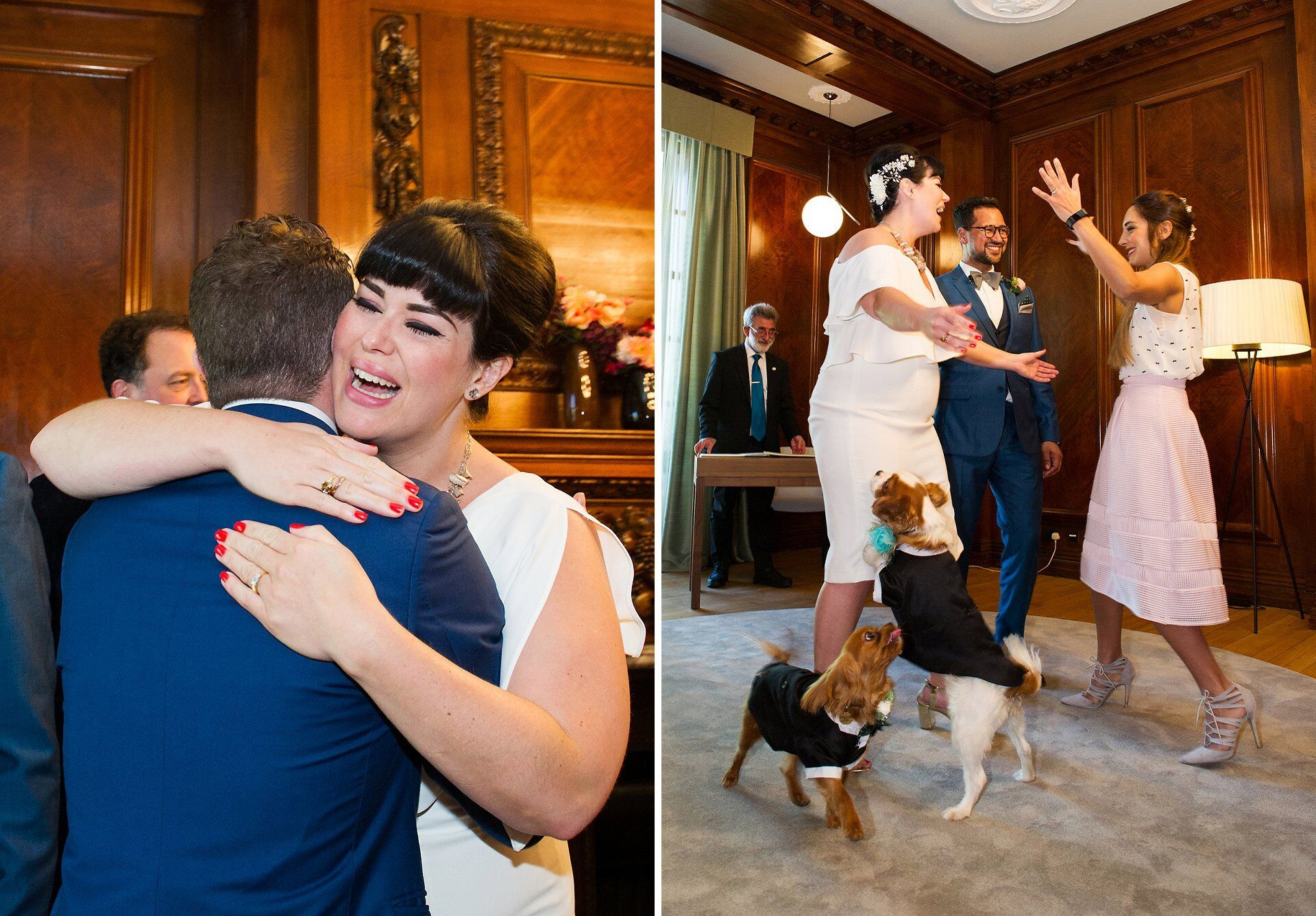 old marylebone town hall wedding photographer capturing humans hugging and dogs leaping during marylebone room wedding photography