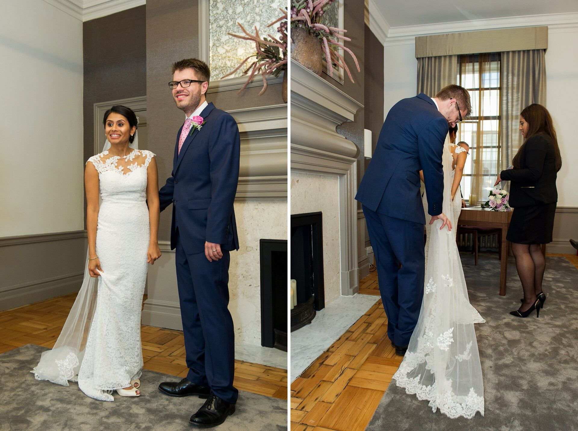 bride and groom in the mayfair room at old marylebone town hall showing bride's long cathedral veil