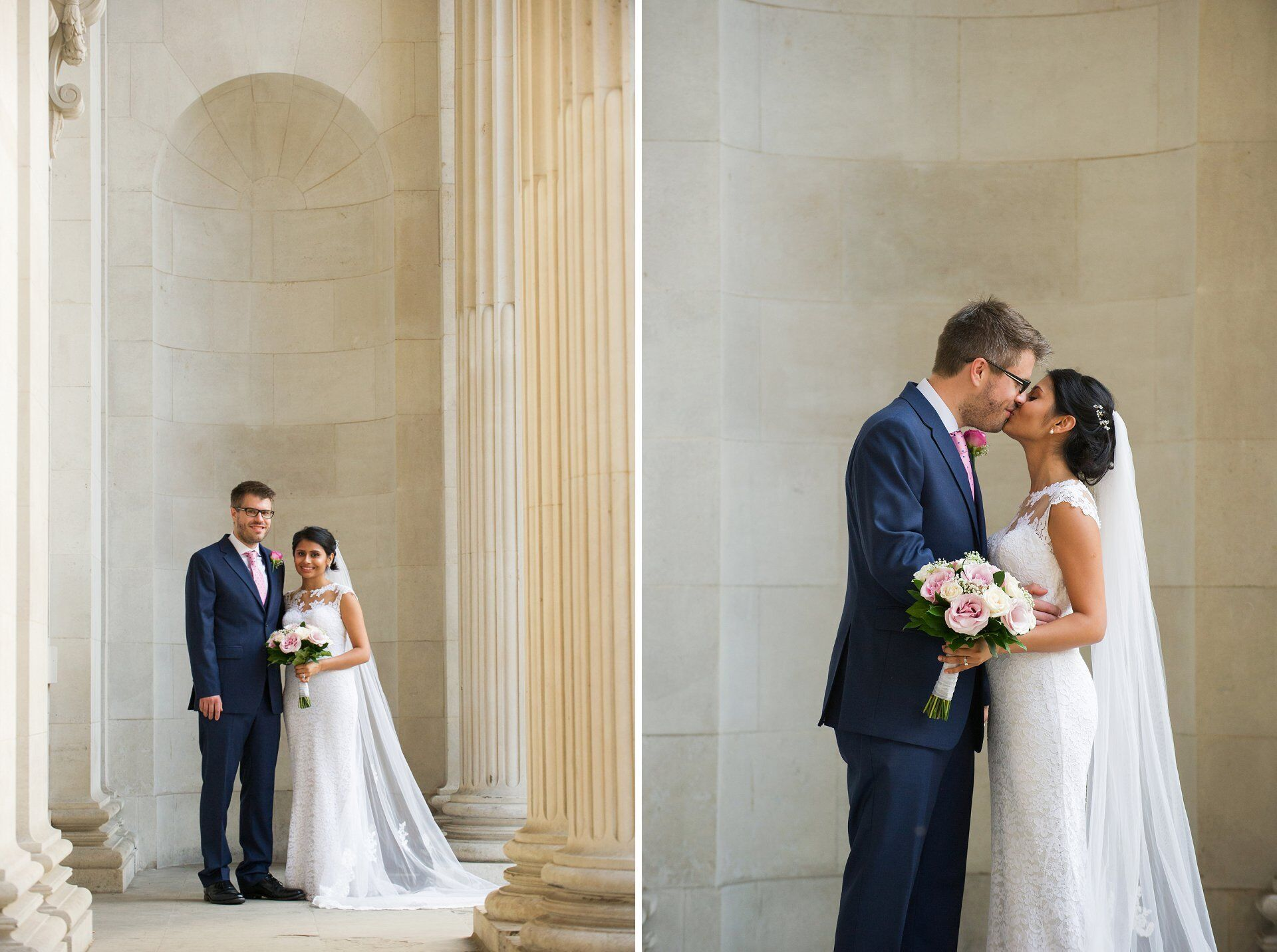 bride and groom pose for portrait outside old marylebone town hall westminster register office wedding photographer
