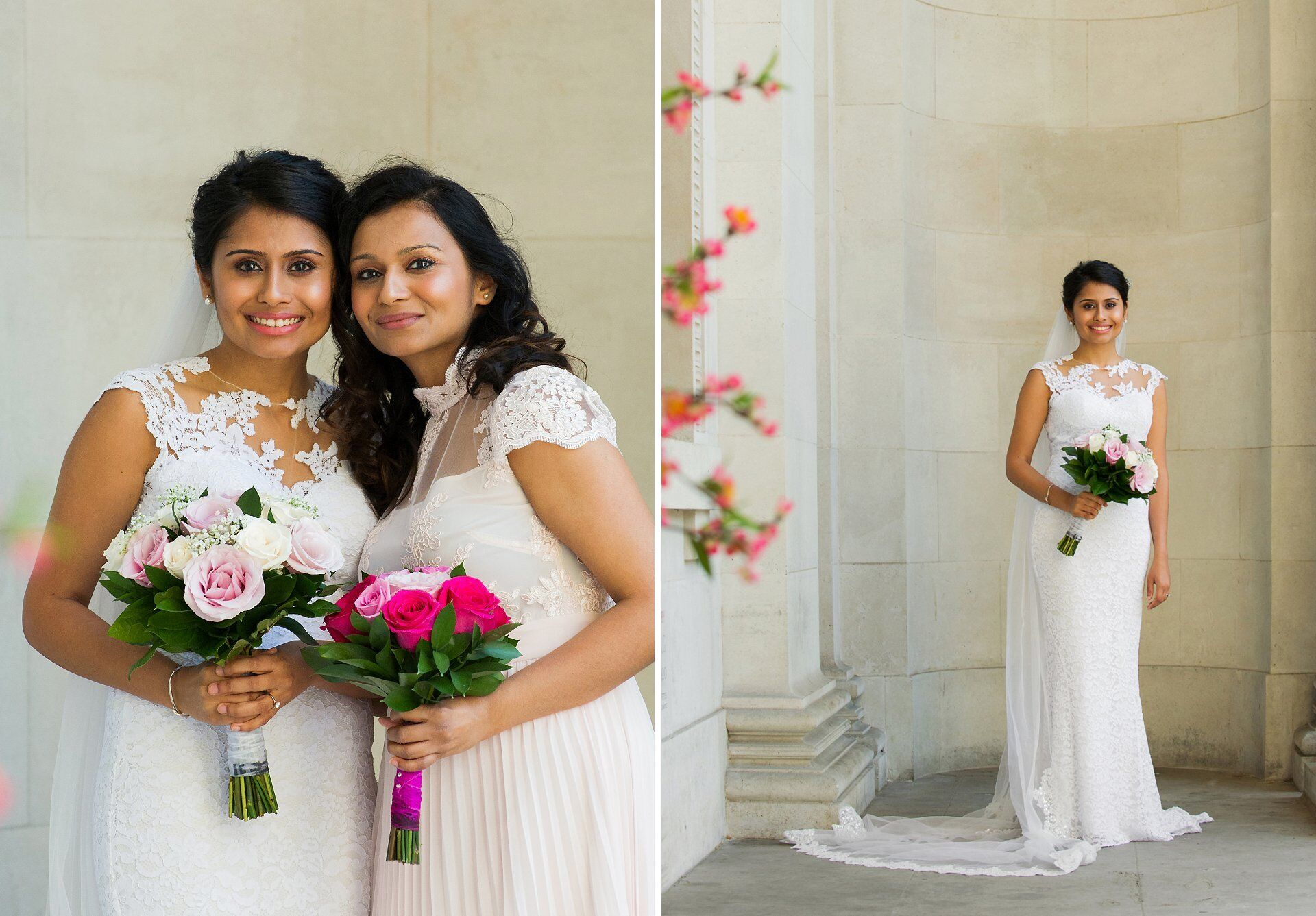 bride with cathedral veil at old marylebone town hall with her sister