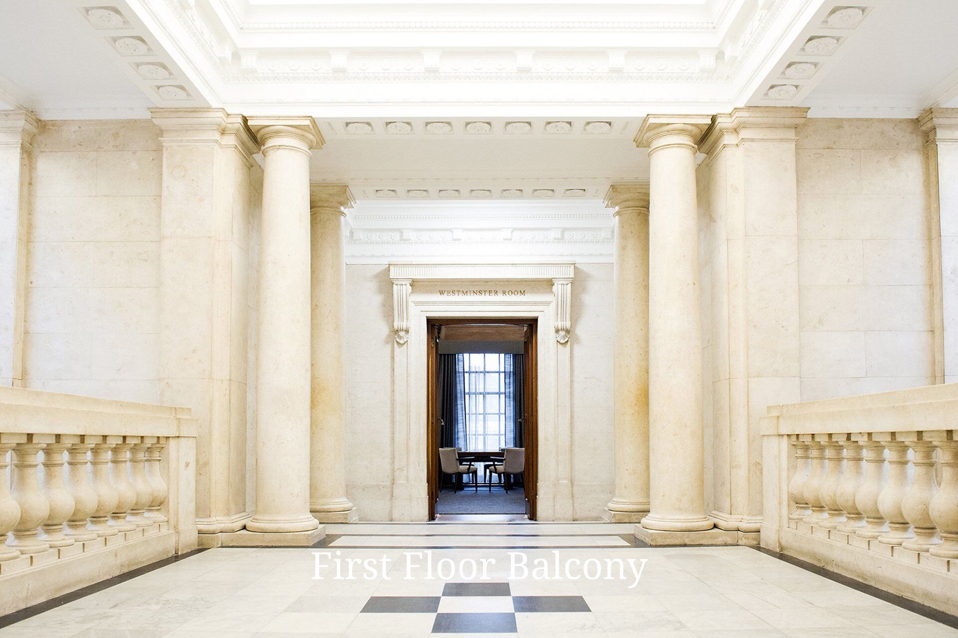 First floor of Old Marylebone Town Hall looking towards the largest ceremony room, the Westminster Room which holds up to 98 guests