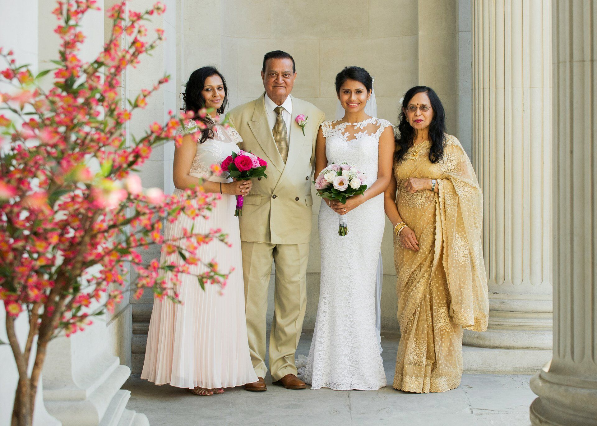 indian family at old marylebone town hall just before mayfair room wedding photography by emma duggan