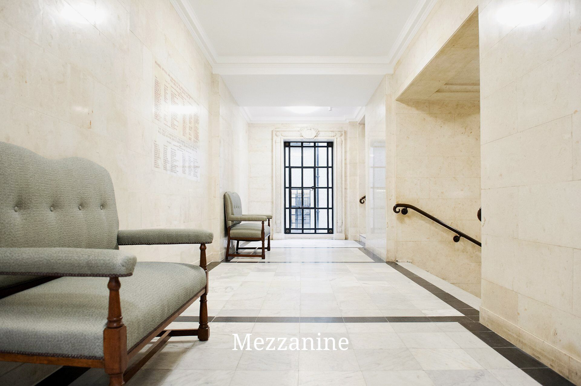 Mezzanine level between the ground and first floor inside Old Marylebone Town Hall