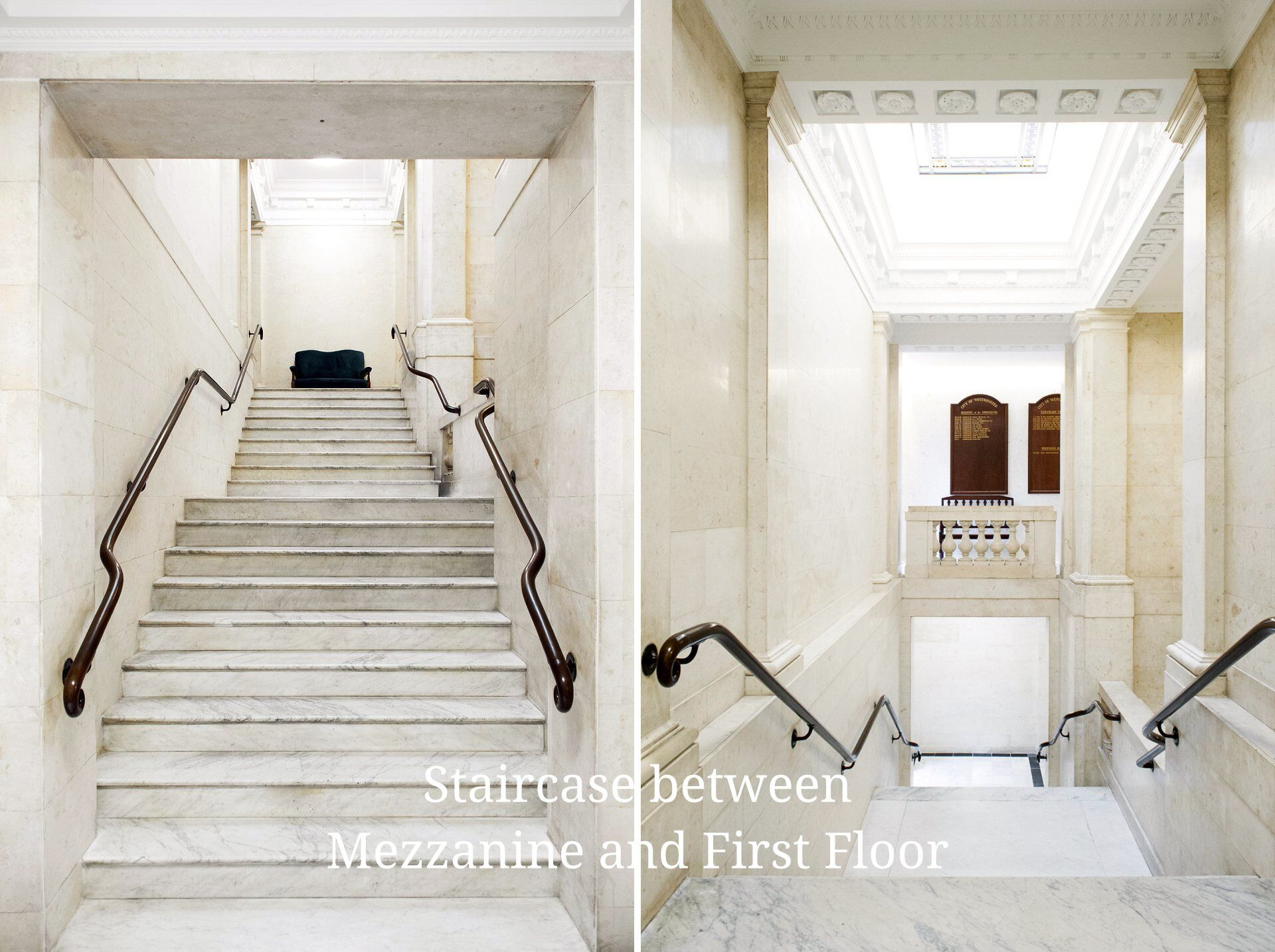 Side staircase inside Old Marylebone Town Hall and the view from the mezzanine level up to the first floor and then from the first floor down to the mezzanine level