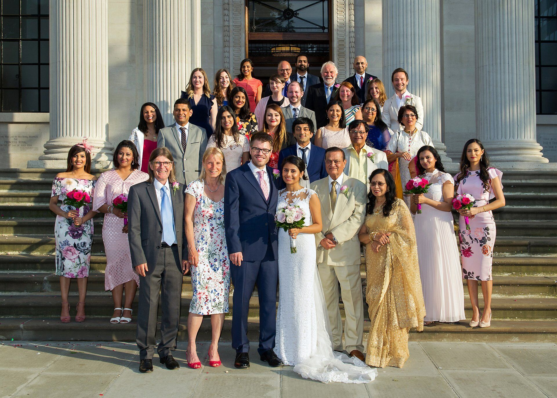 wedding photography small wedding with up to 30 guests on steps of famous old marylebone town hall