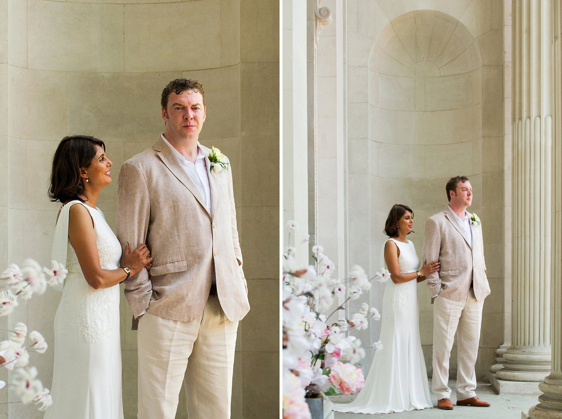 a gride and groom in summer wedding outfits perfect for the 2018 summer heatwave here photographed at old marylebone town hall the home of westminster register office