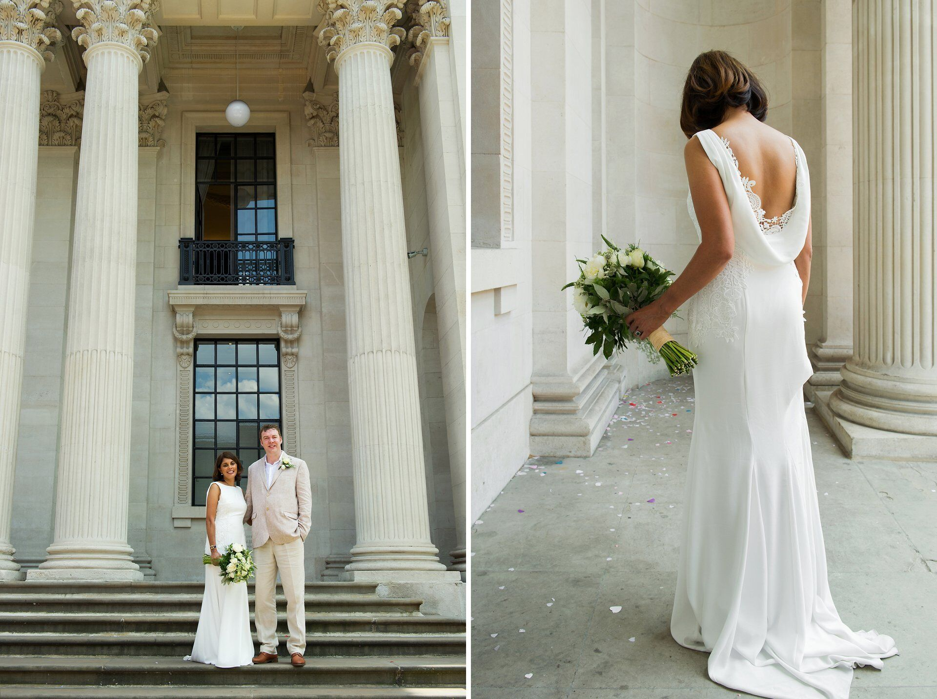 bride and groom during summer heatwave outside old marylebone town hall with the bride showing off her beautiful scoop back wedding dress