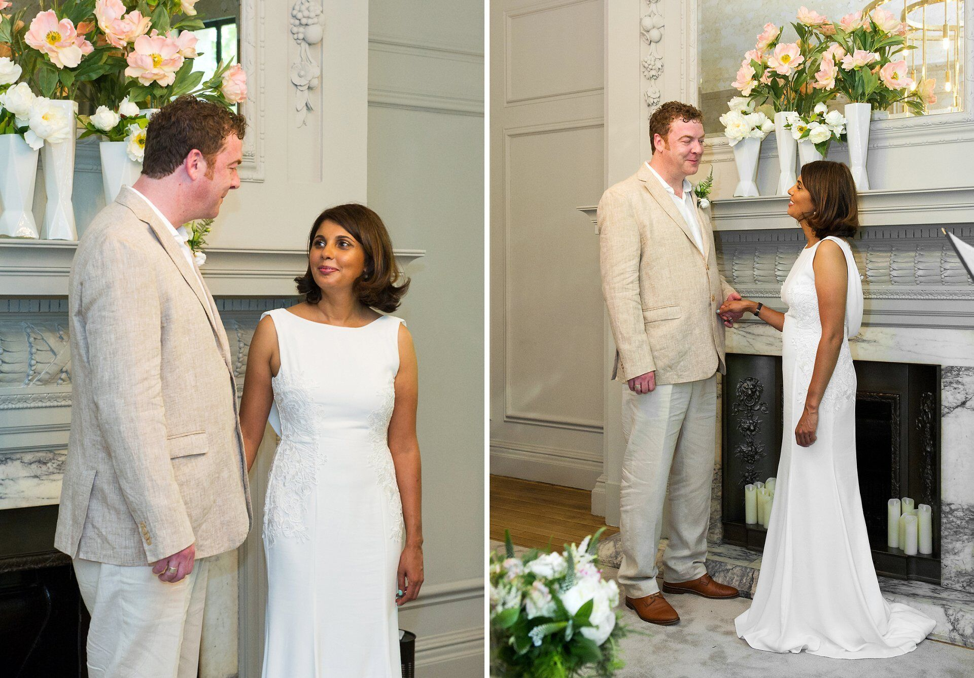 bride and groom exchanging vows in the soho room at old marylebone town hall