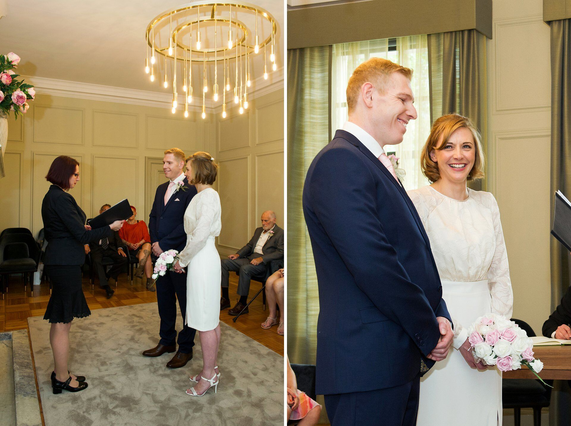 bride and groom laughing during civil wedding ceremony pimlico room wedding old marylebone town hall