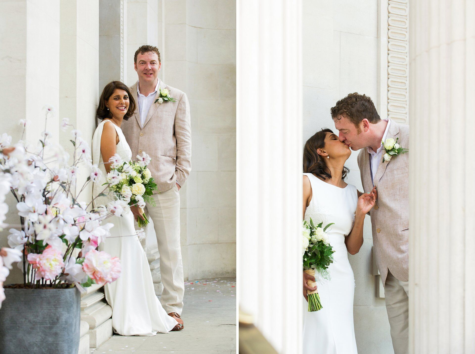 bride and groom relax for photos outside old marylebone town hall after their soho room wedding
