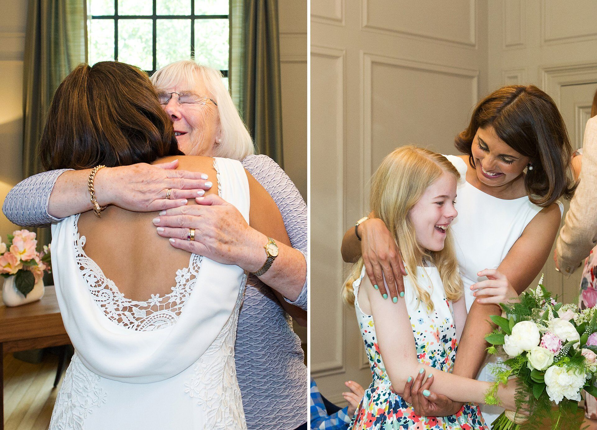 bride is congratulated by mother in law and niece in the soho room at westminster register office