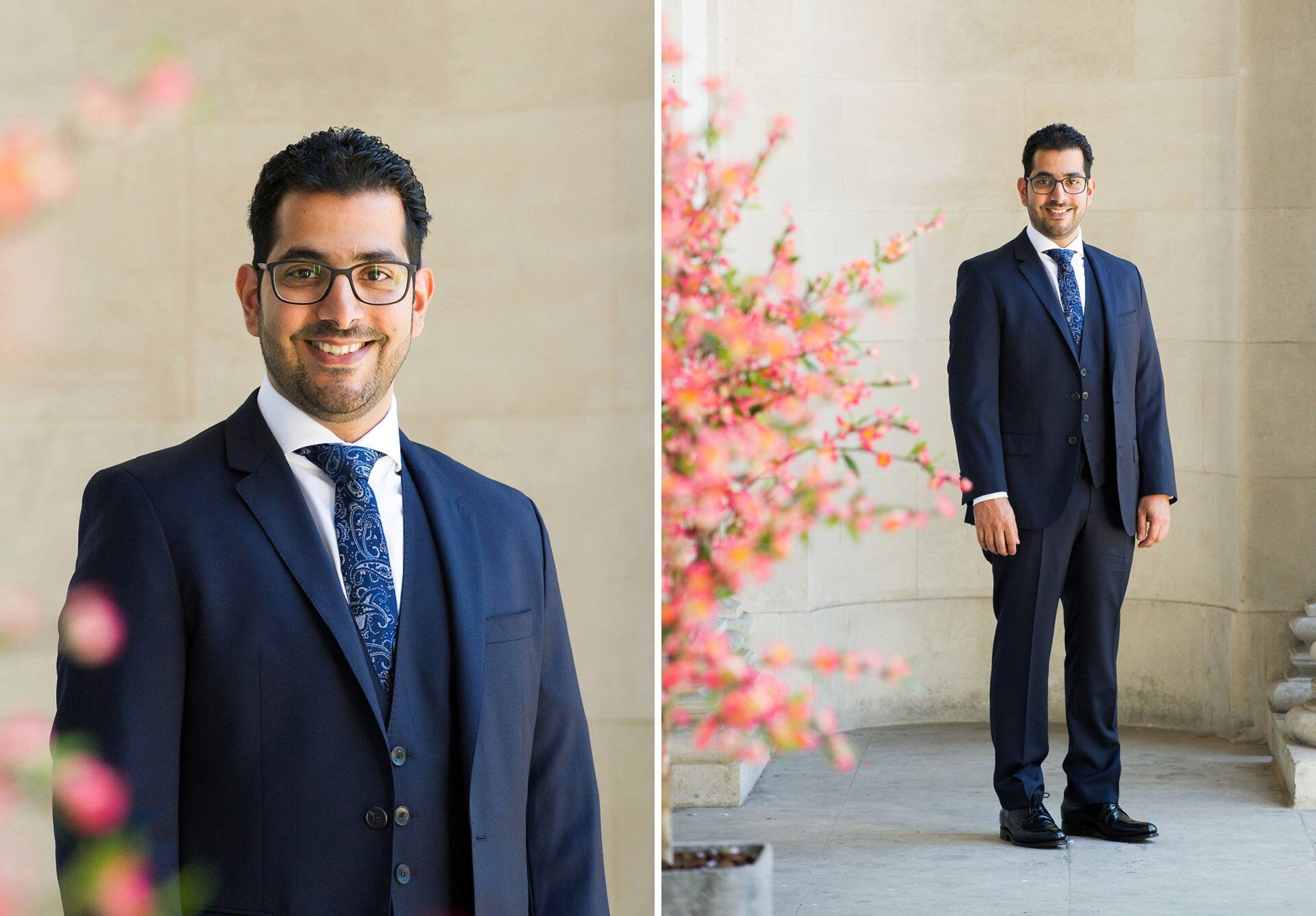 dubai groom in navy suit old marylebone town hall wedding photographer by a short coverage specialist