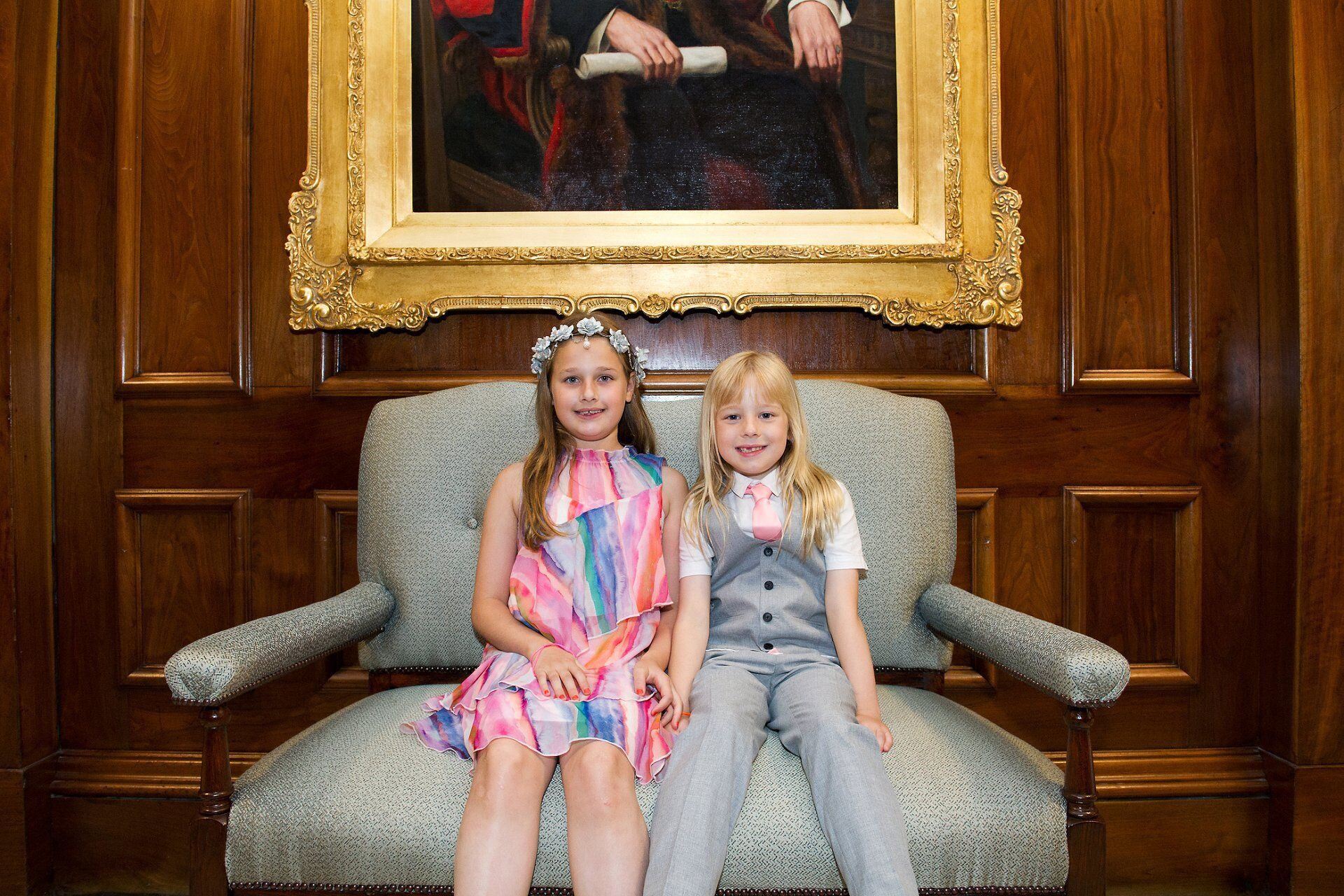 emma duggan recommended supplier at old marylebone town hall flower girl and page girl outside pimlico room