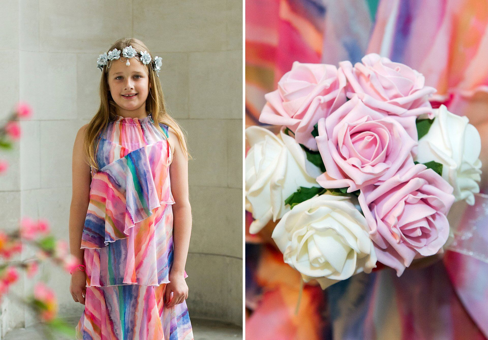 flower girl at old marylebone town hall with flower crown and rose bouquet