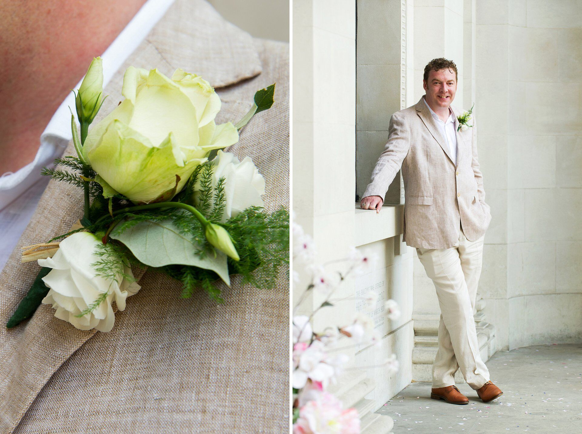 groom wearing a linen suit for his heatwave summer wedding in london at old marylebone town hall