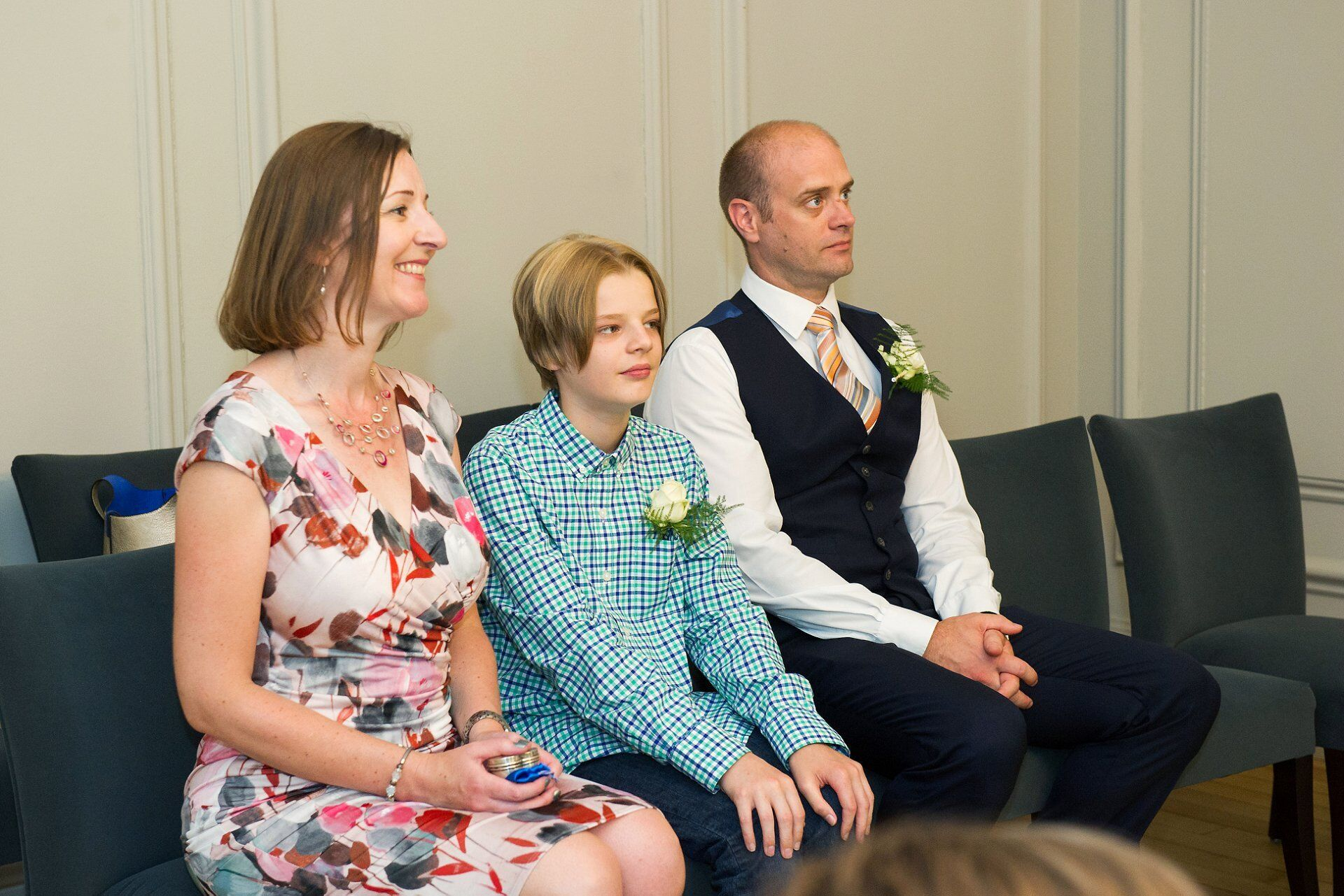 guests at soho room civil wedding ceremony watching bride and groom getting married