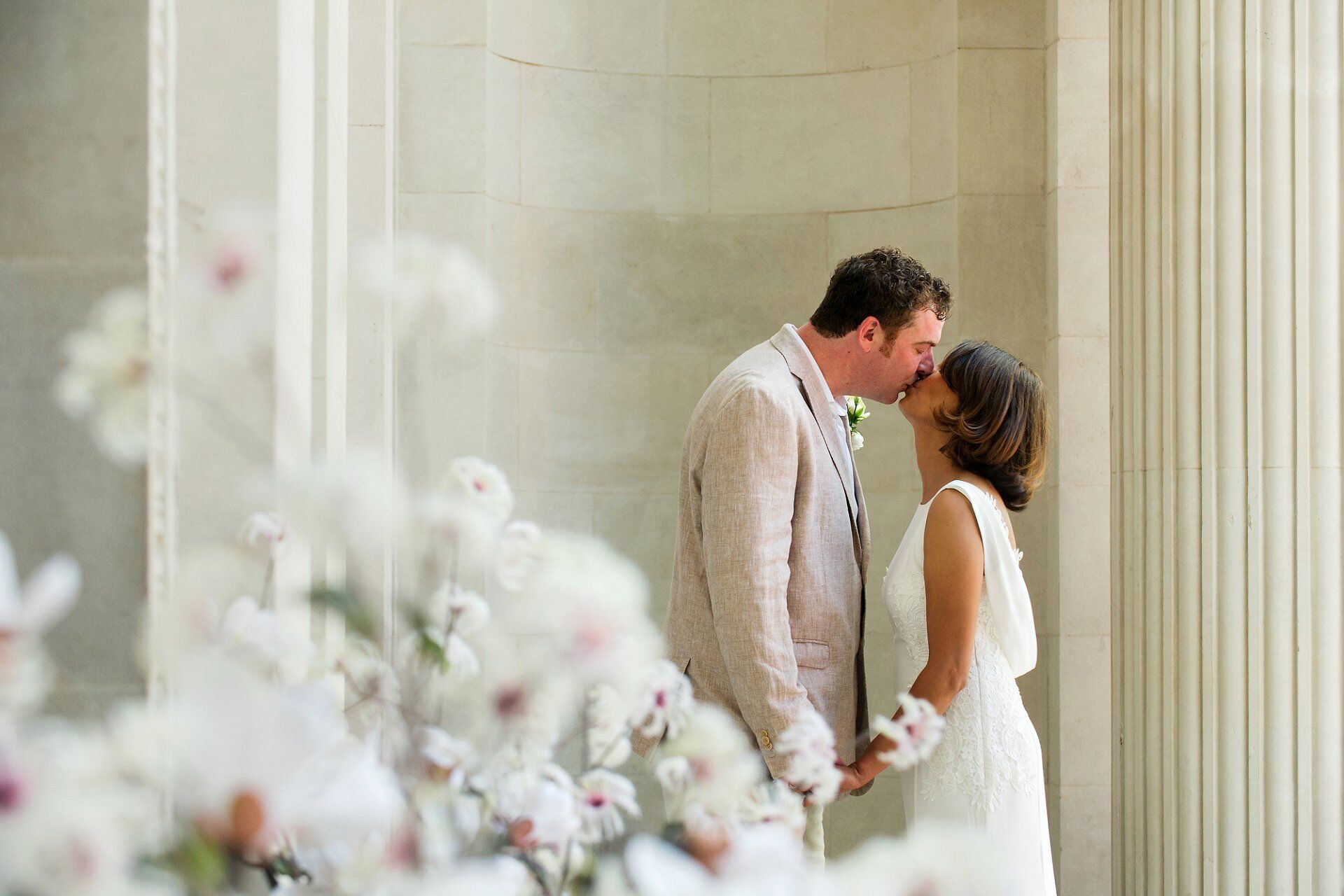 old marylebone town hall wedding photographer emma duggan captures a bride and groom kissing after their soho room world cup quarter final wedding