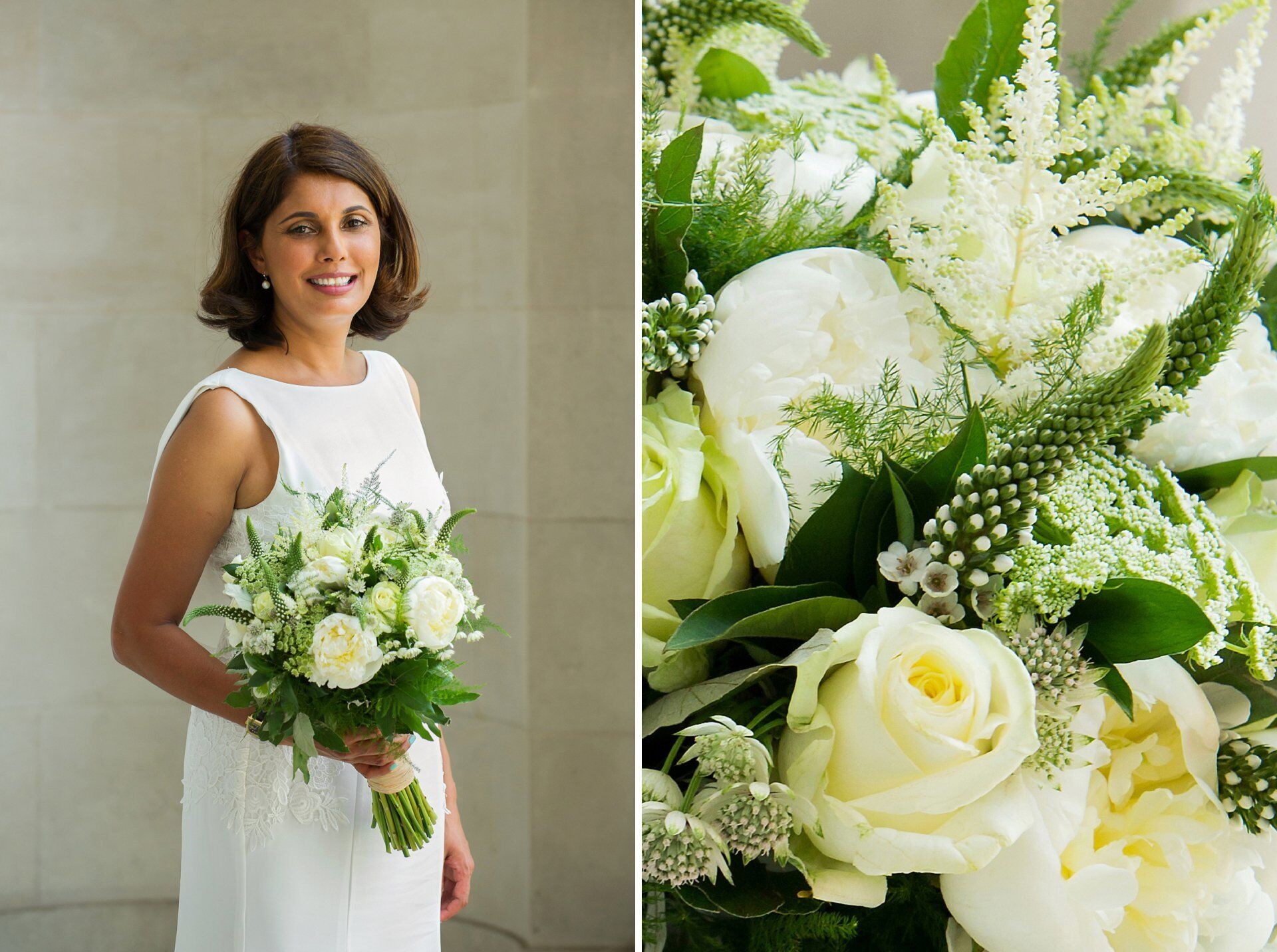 stunning bride with cream and green floral bouquet just before her soho room wedding photography ceremony (westminster register office wedding photographer)