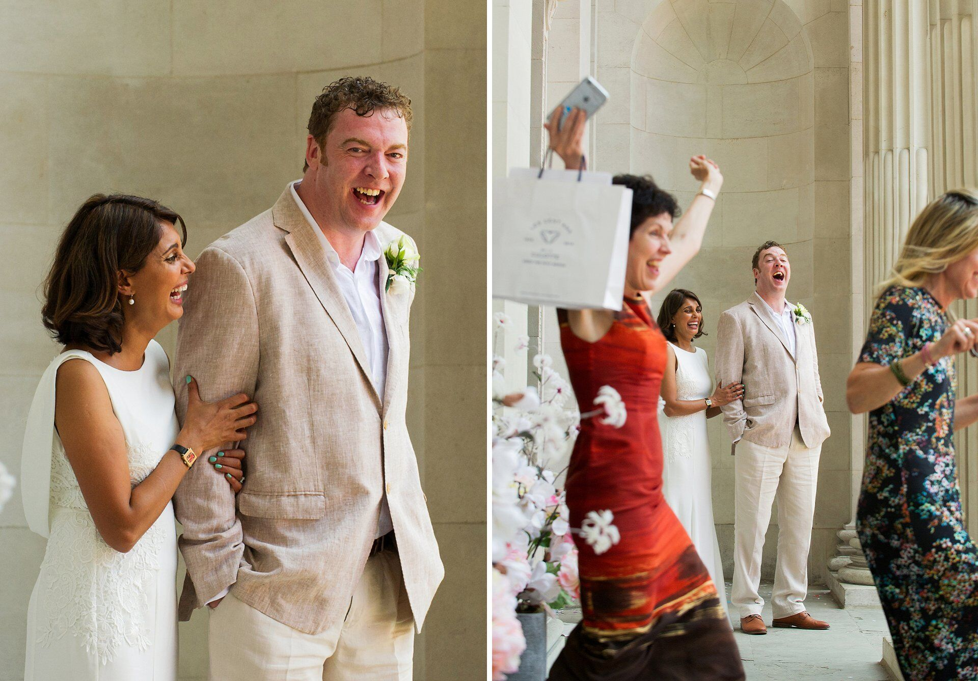 the bride and groom laughing as two guests run out of old marylebone town hall to celebrate england's first goal against sweden