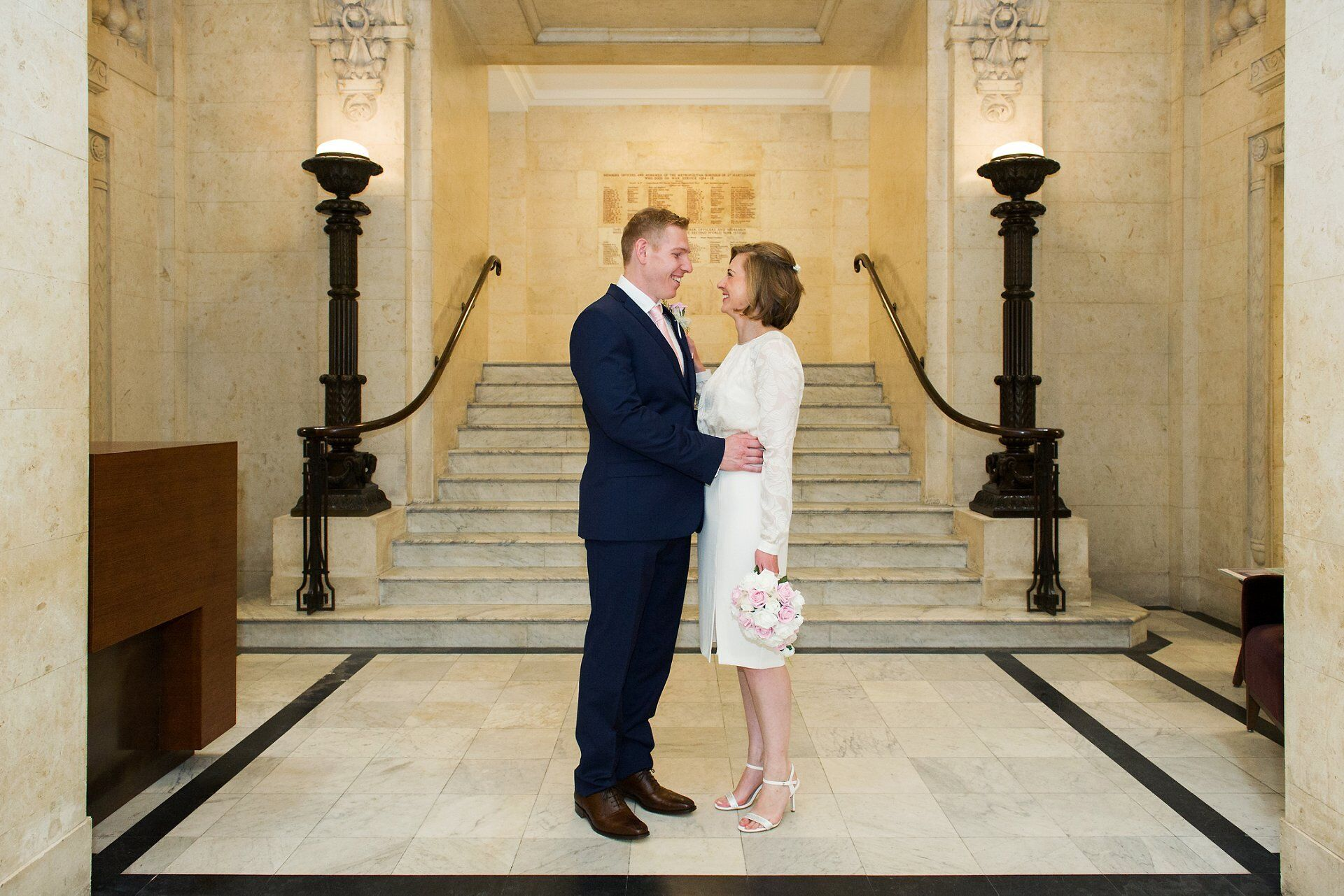 westminster register office wedding photography the lobby at old marylebone town hall with bride and groom
