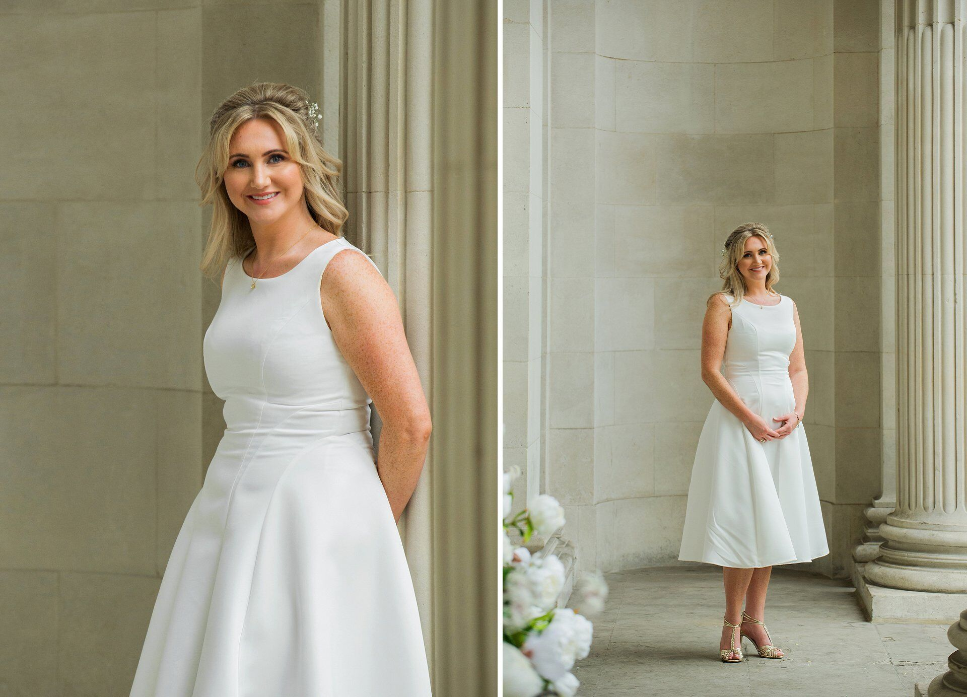 bride wearing a-line sleeveless wedding dress and gold t-bar sandals before westminster register office wedding