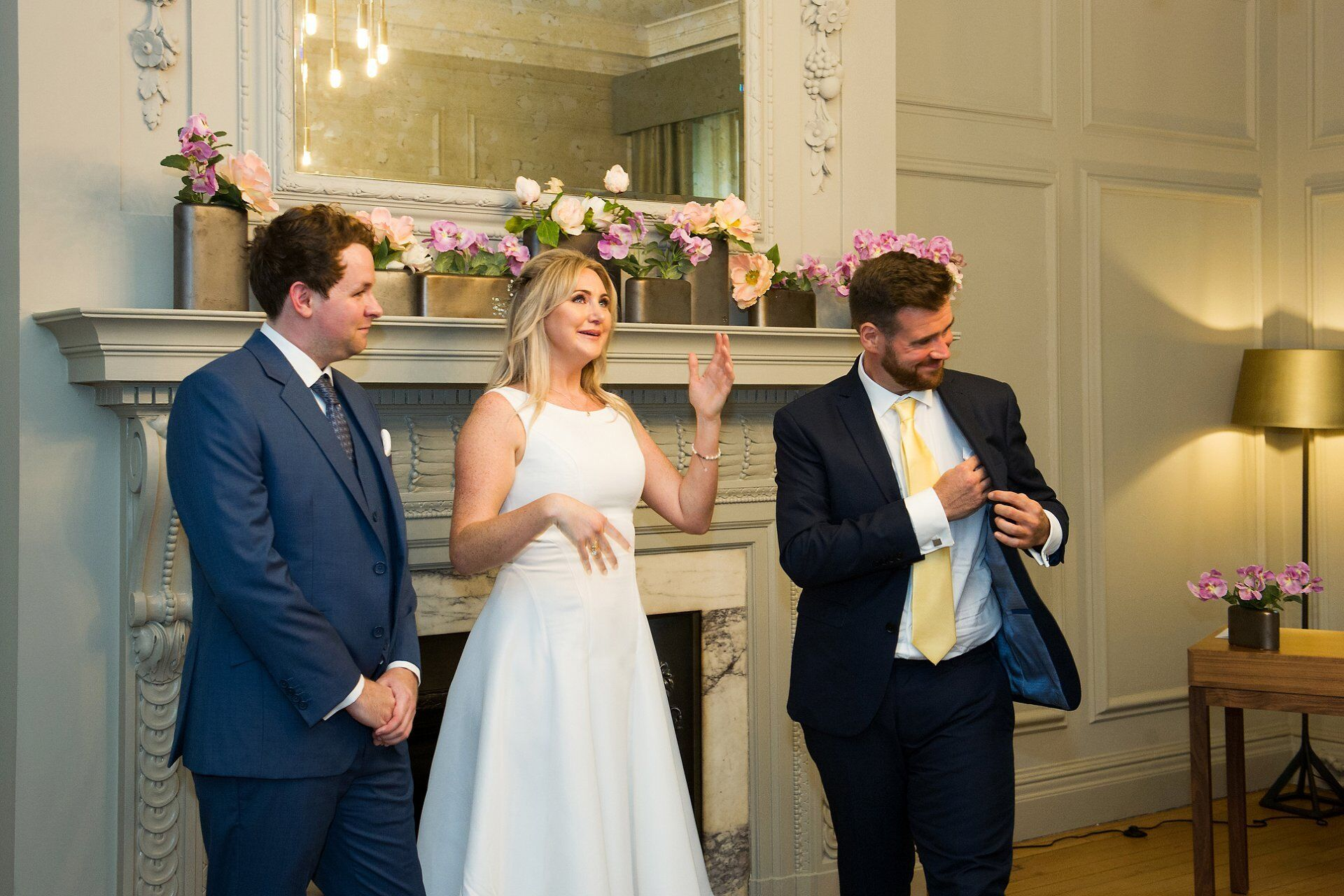 bride's brother gives a reading making his sister cry