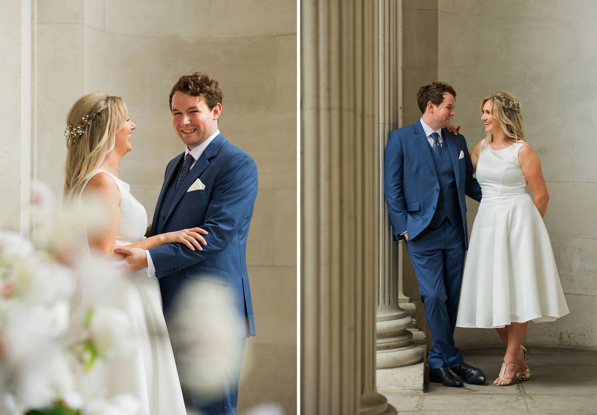 happy bride and groom after soho room wedding at old marylebone town hall