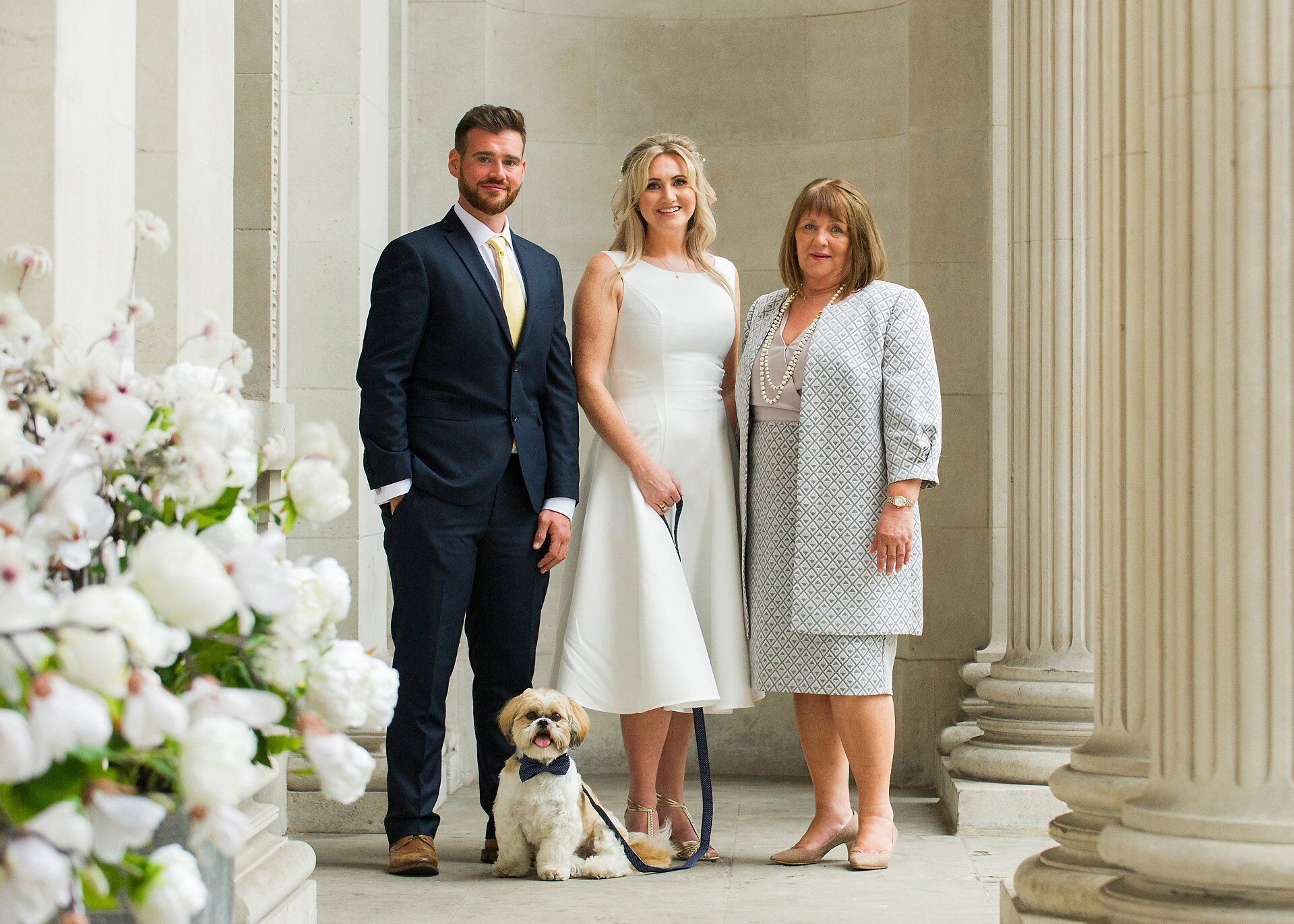 old marylebone town hall wedding dogs a bride mother and brother with shih tzu at westminster register office