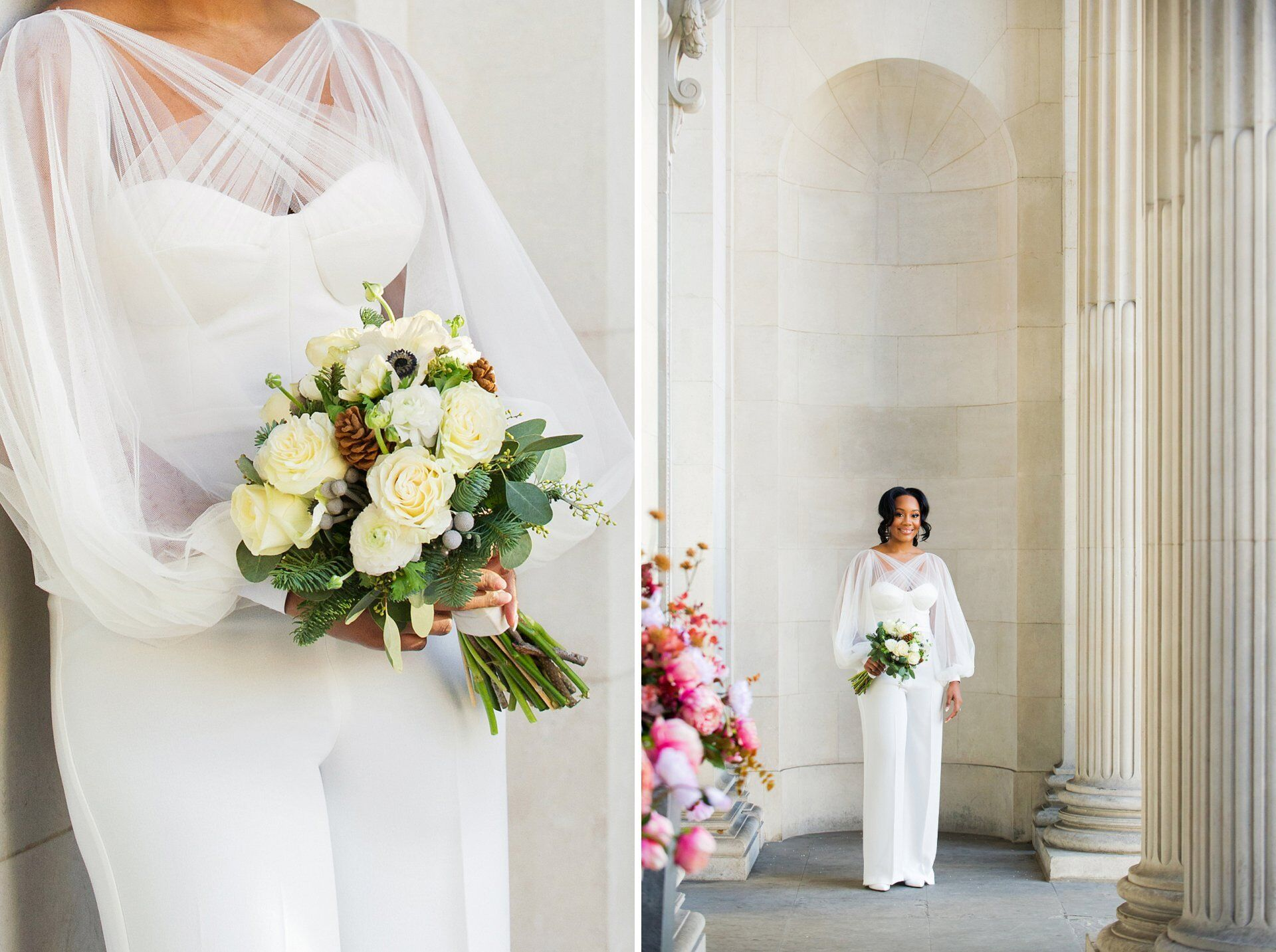 bride in white one-piece trouser suit with structured bodice and sheer crossover detail and puffed sleeves (flowers by sayeh & galton)