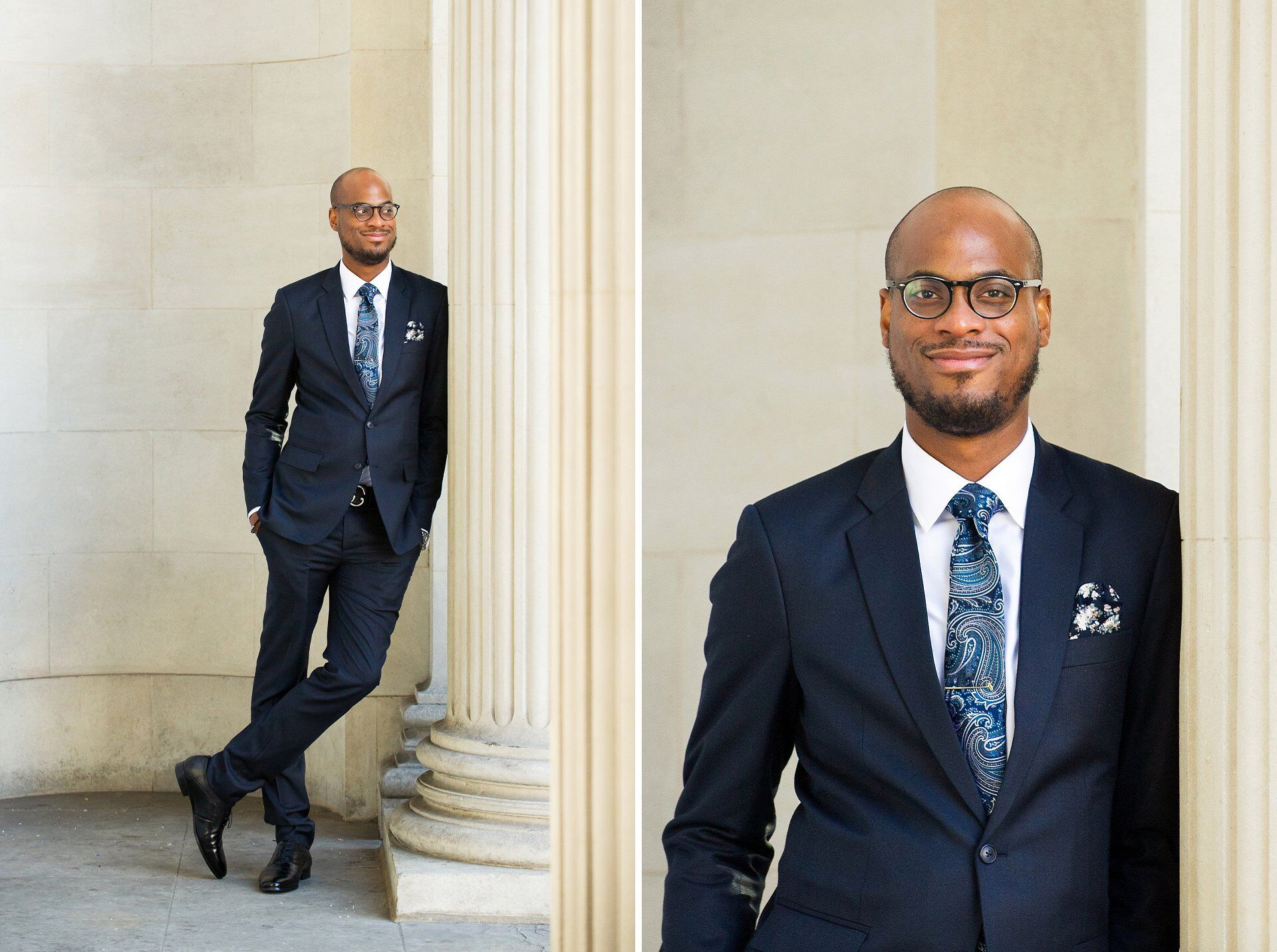 groom with navy suit, black shoes, blue patterned silk tie and pocket handkerchief on his wedding day westminster register office