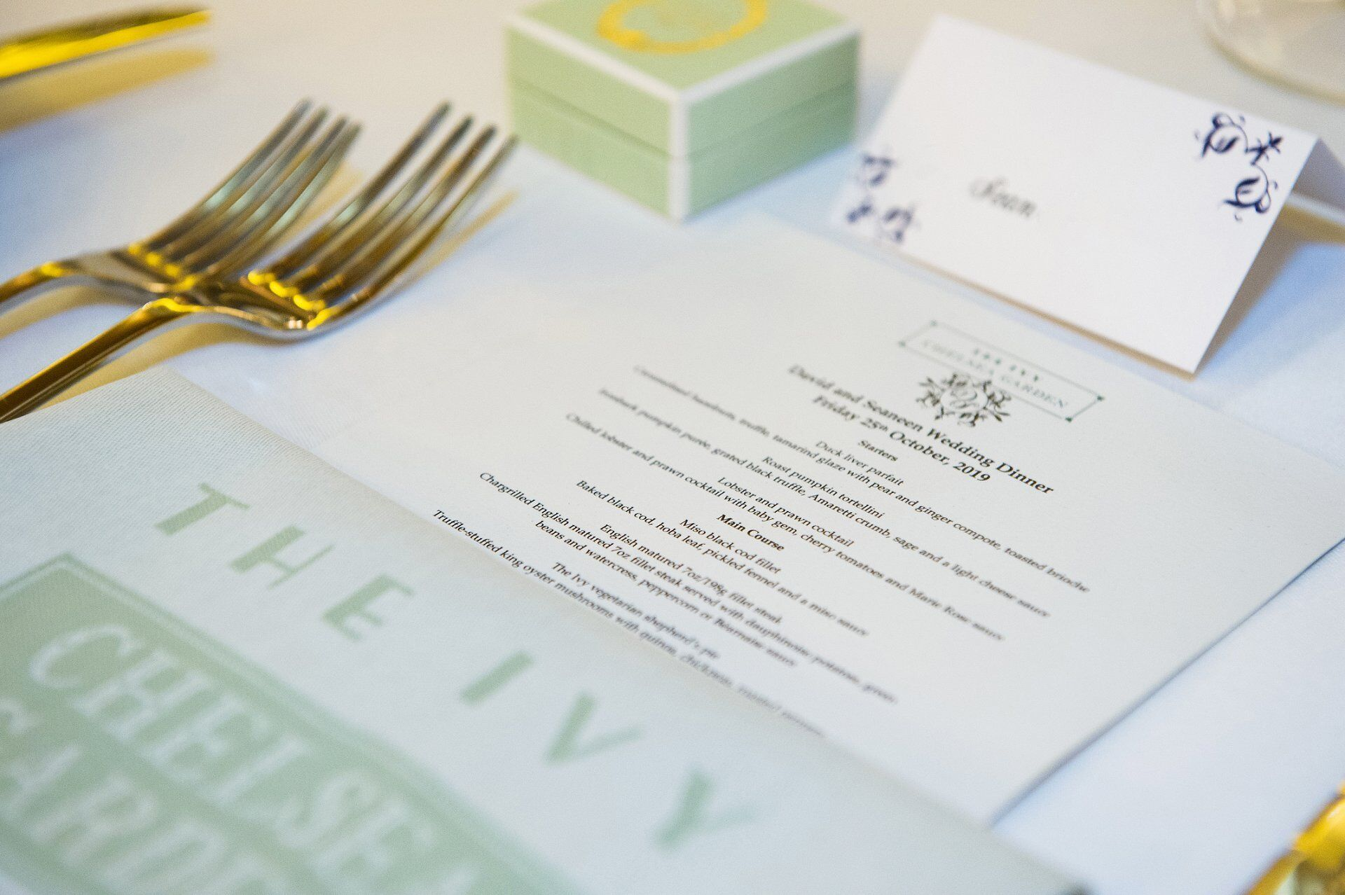 autumn menu for wedding breakfast in the eden room at the ivy chelsea garden