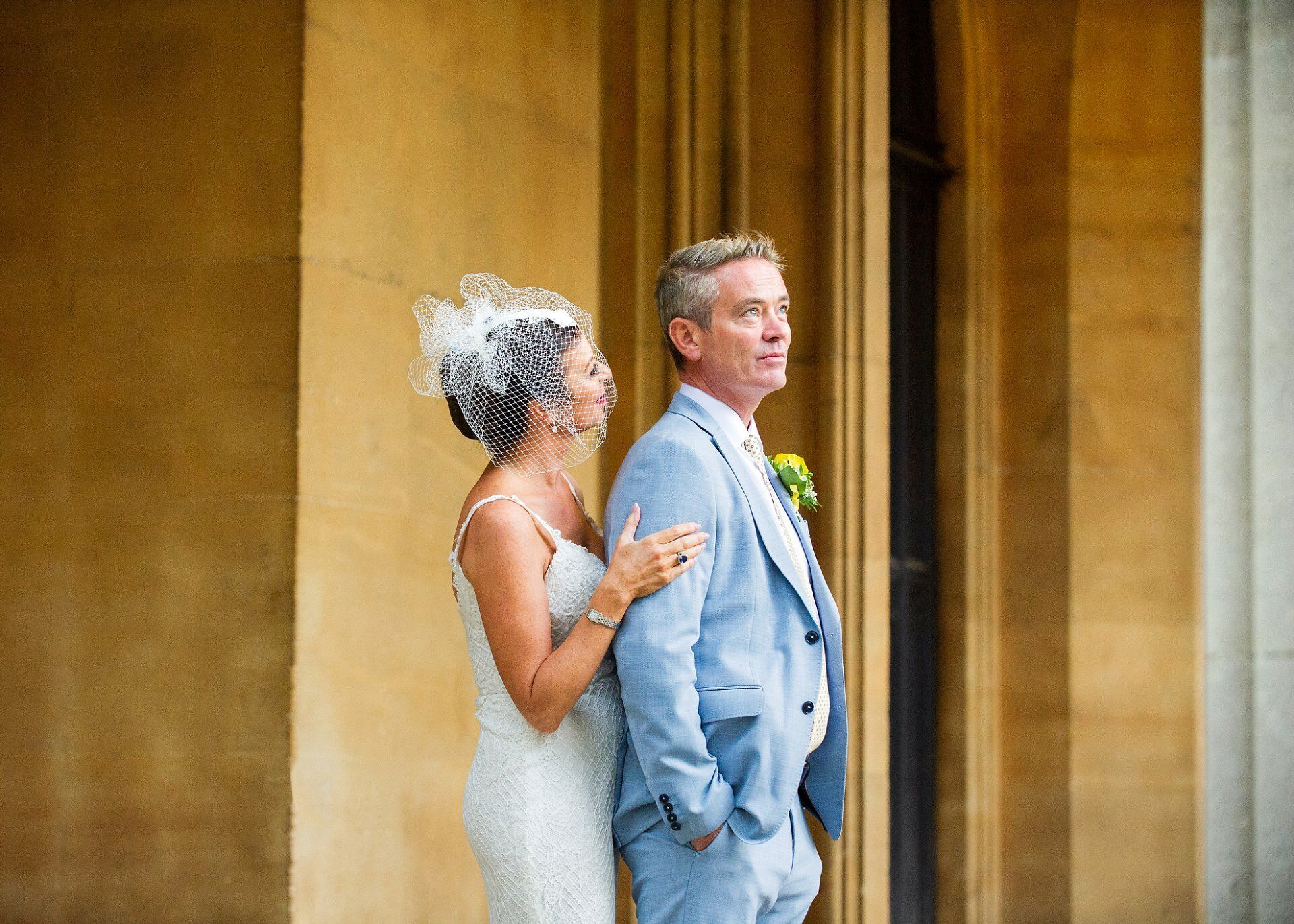 bride and groom after their brydon room ceremony chelsea old town hall wedding photographer
