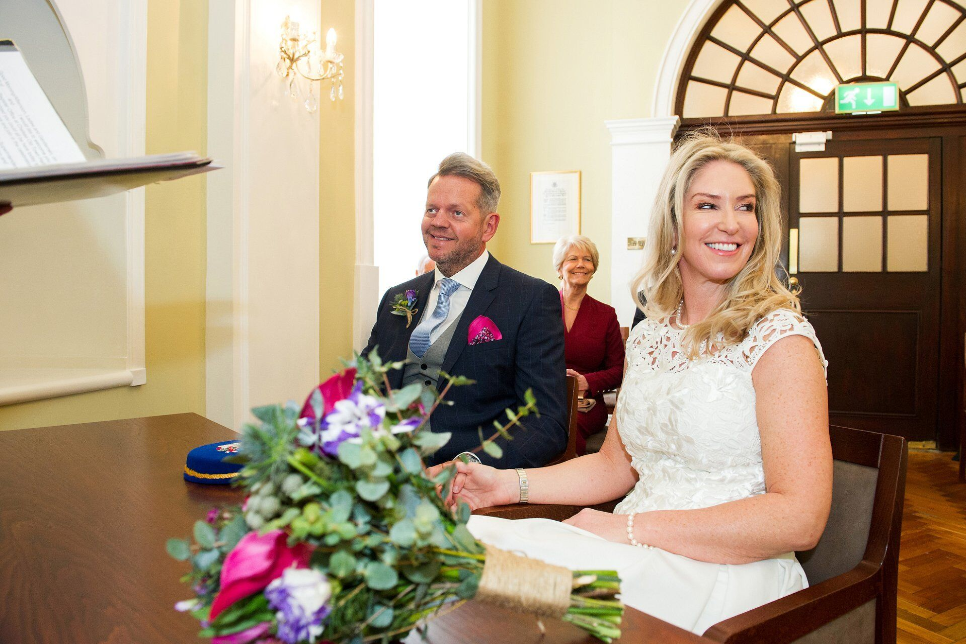 bride and groom at the start of their chelsea old town hall wedding