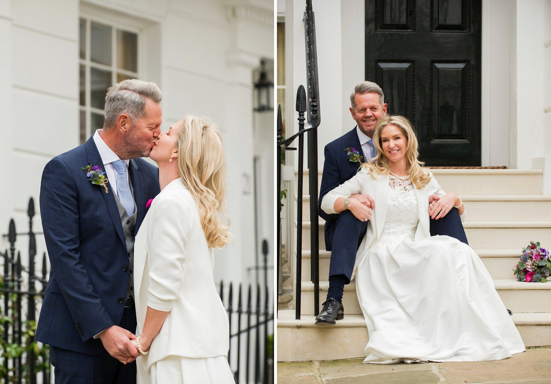 bride and groom in a chelsea side street with black railings and white stucco buildings
