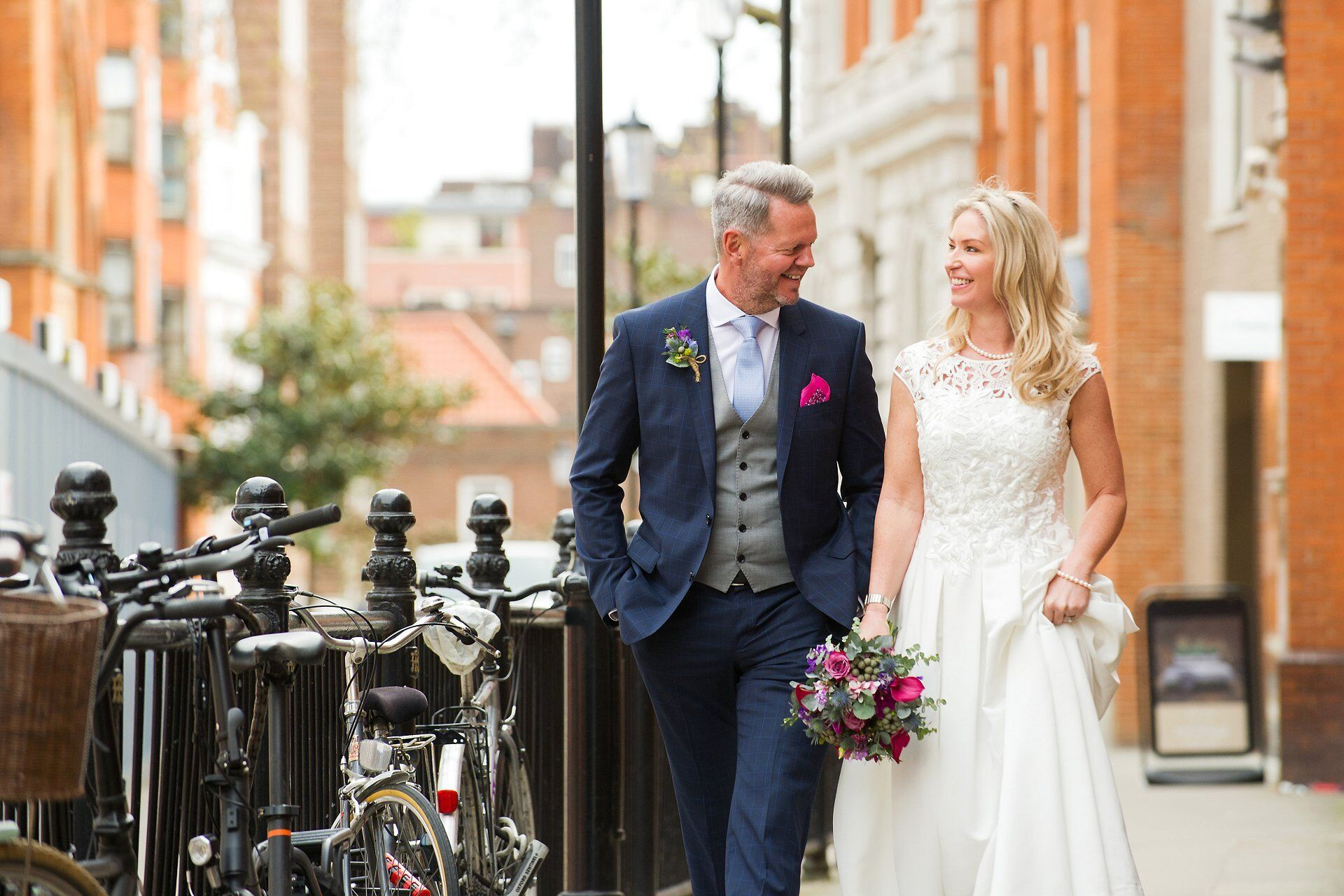 bride and groom in chelsea manor street opposite chelsea old town hall