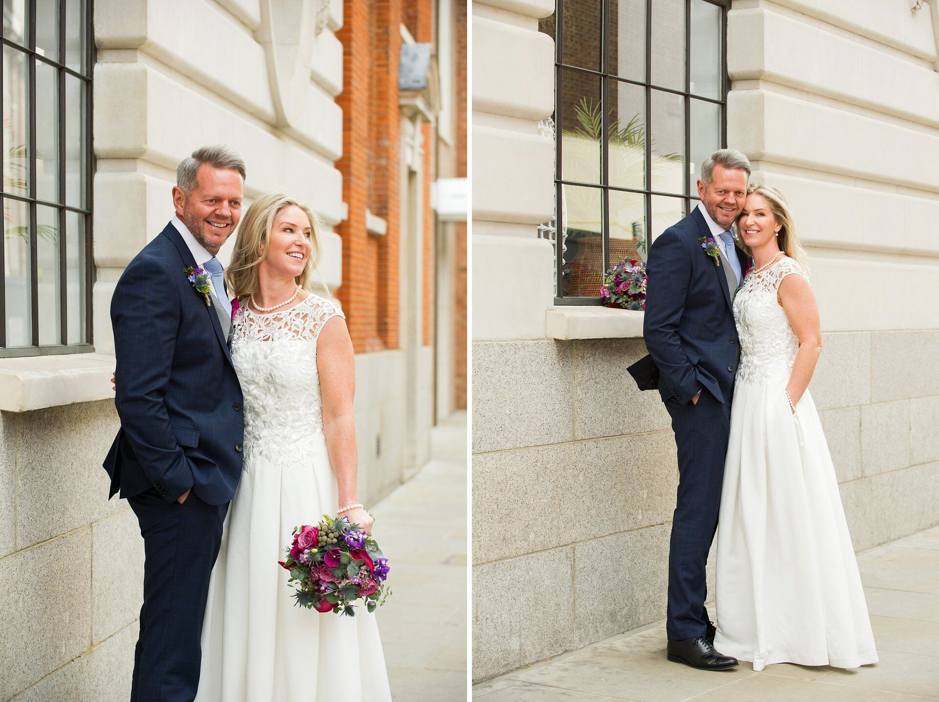 bride in full length silk embroidered wedding dress with pockets