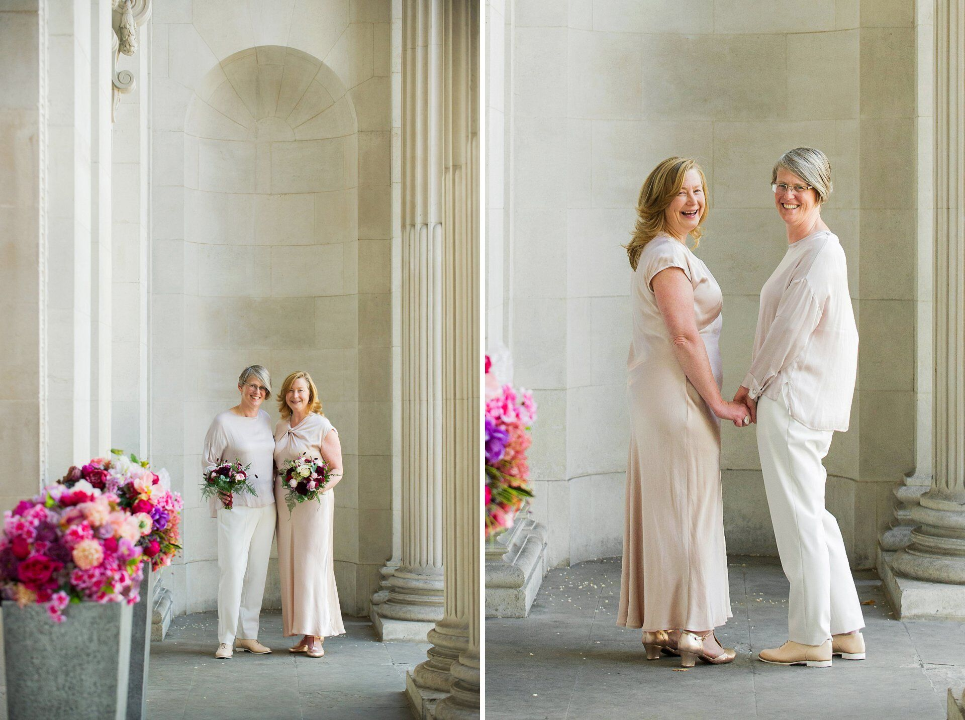 brides sarah and emma with stunning flowers by titania's garden in marylebone pose under the pretty fluted columns at westminster council house