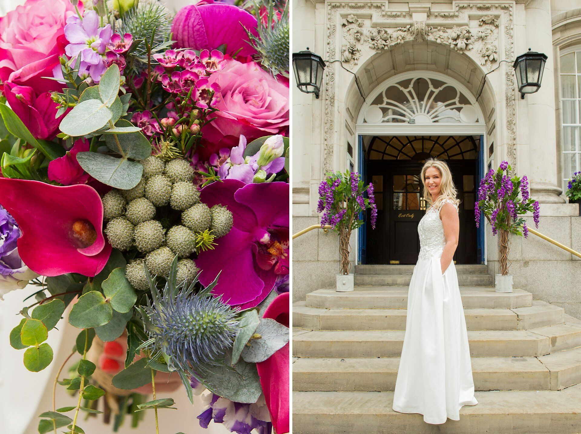 chelsea old town hall reopening with bride and her chelsea registry office wedding photography with stunning bridal bouquet deep pink canna lilies