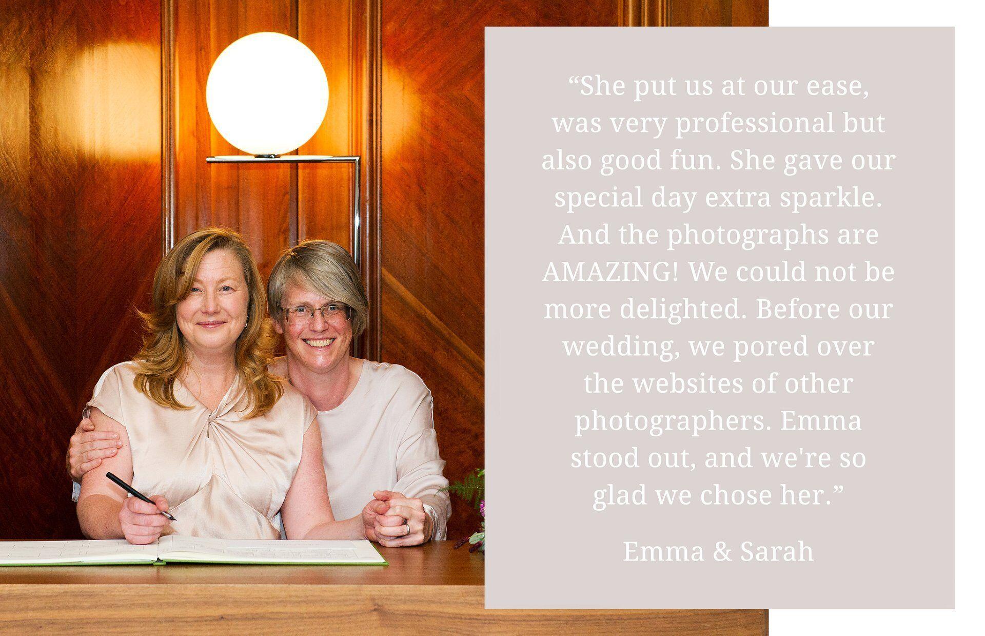 emma and sarah's client testimonial for emma duggan photography - paddington room wedding photography