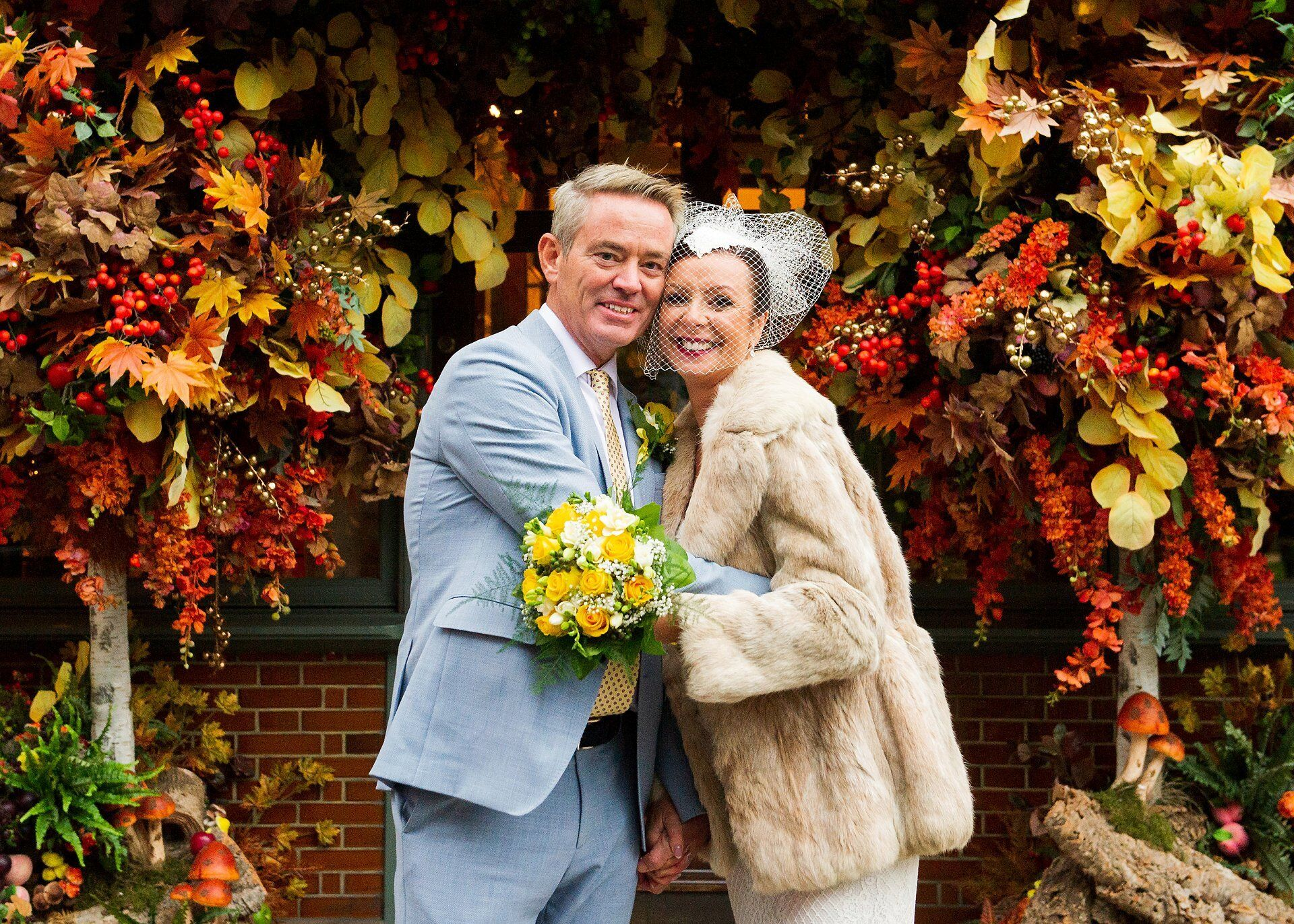 Ivy Chelsea Garden wedding photographer Autumn decorations on King's Road
