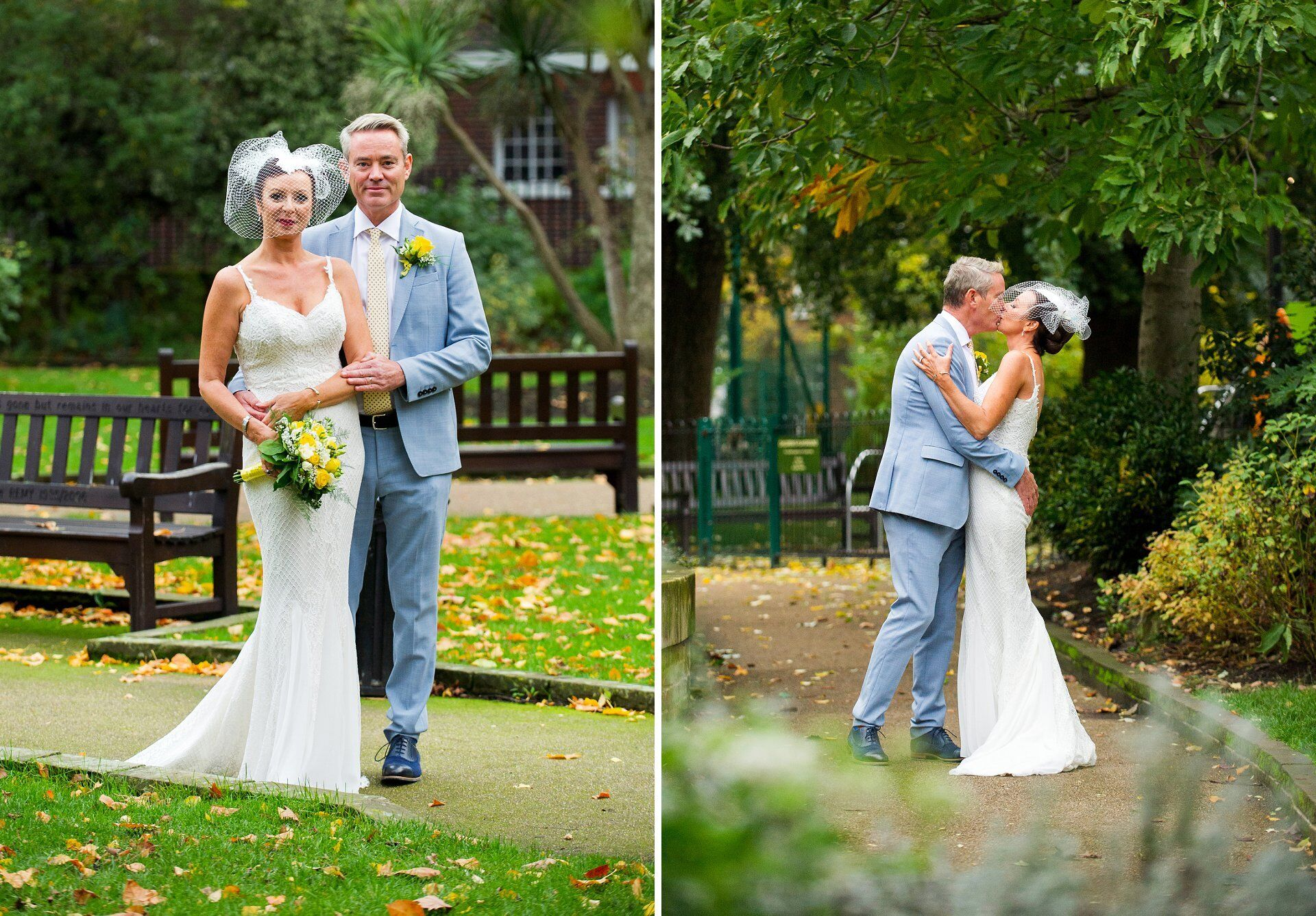 Ivy Chelsea Garden wedding photographer couple photos in nearby St Luke's Gardens