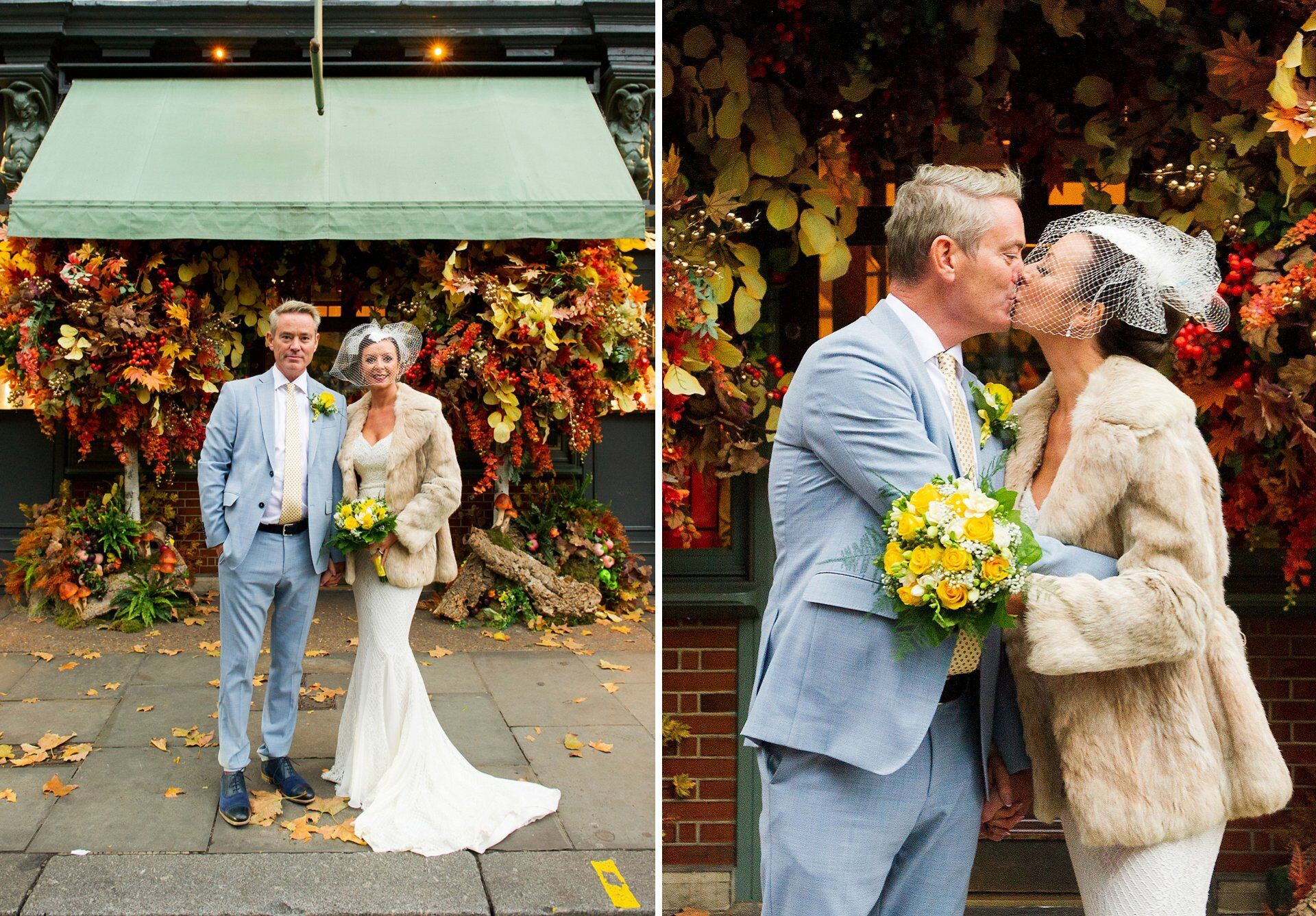 Ivy Chelsea Garden wedding photographer stunning full-length fitted lace dress and fur coat with bridcage veil and groom in cotton pale blue suit and yellow and cream flowers