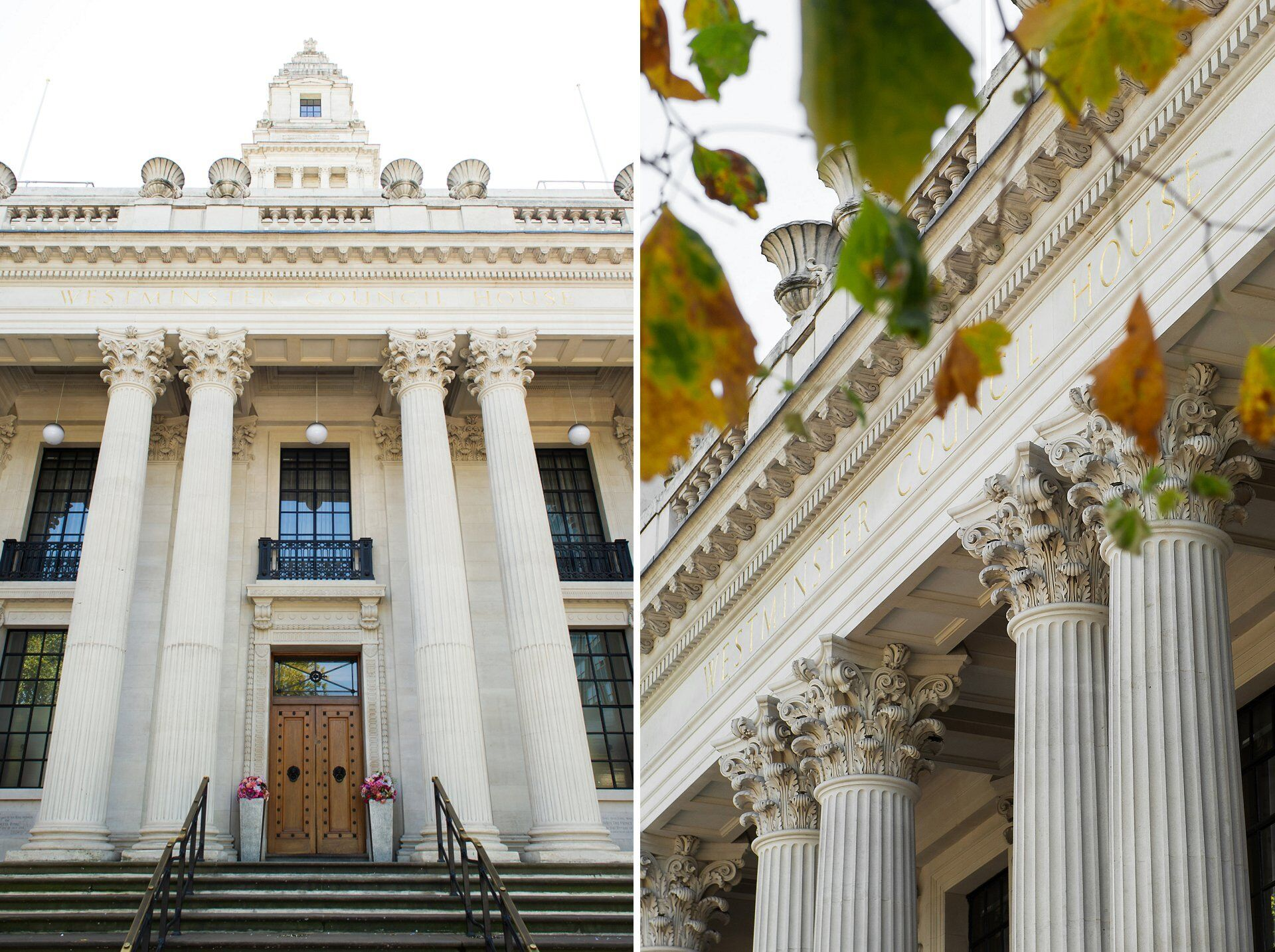 old marylebone town hall on marylebone road near baker street with fluted columns and autumn leaves