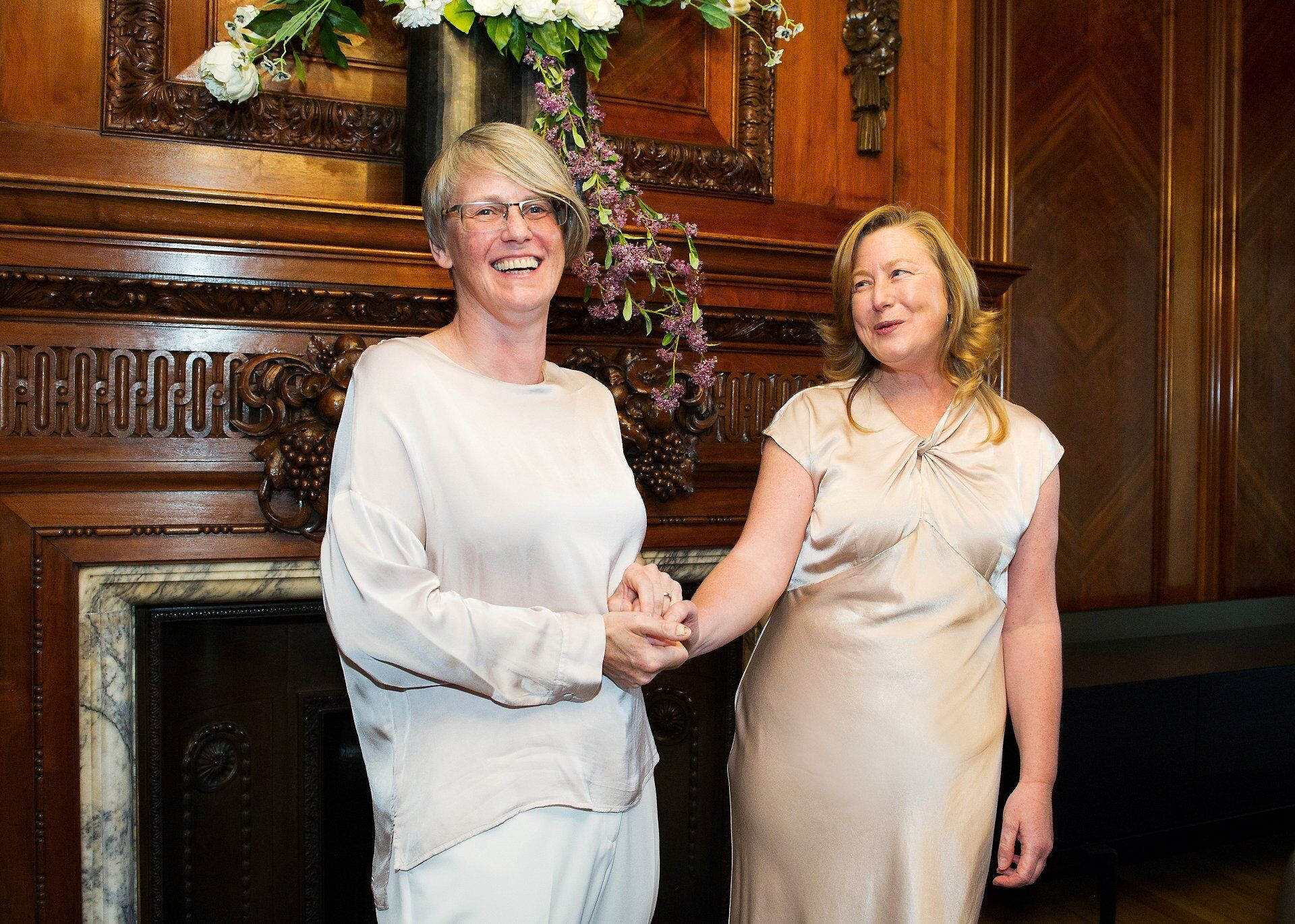 sarah and emma are thrilled to be wife and wife in the paddington room during their westminster registry office wedding