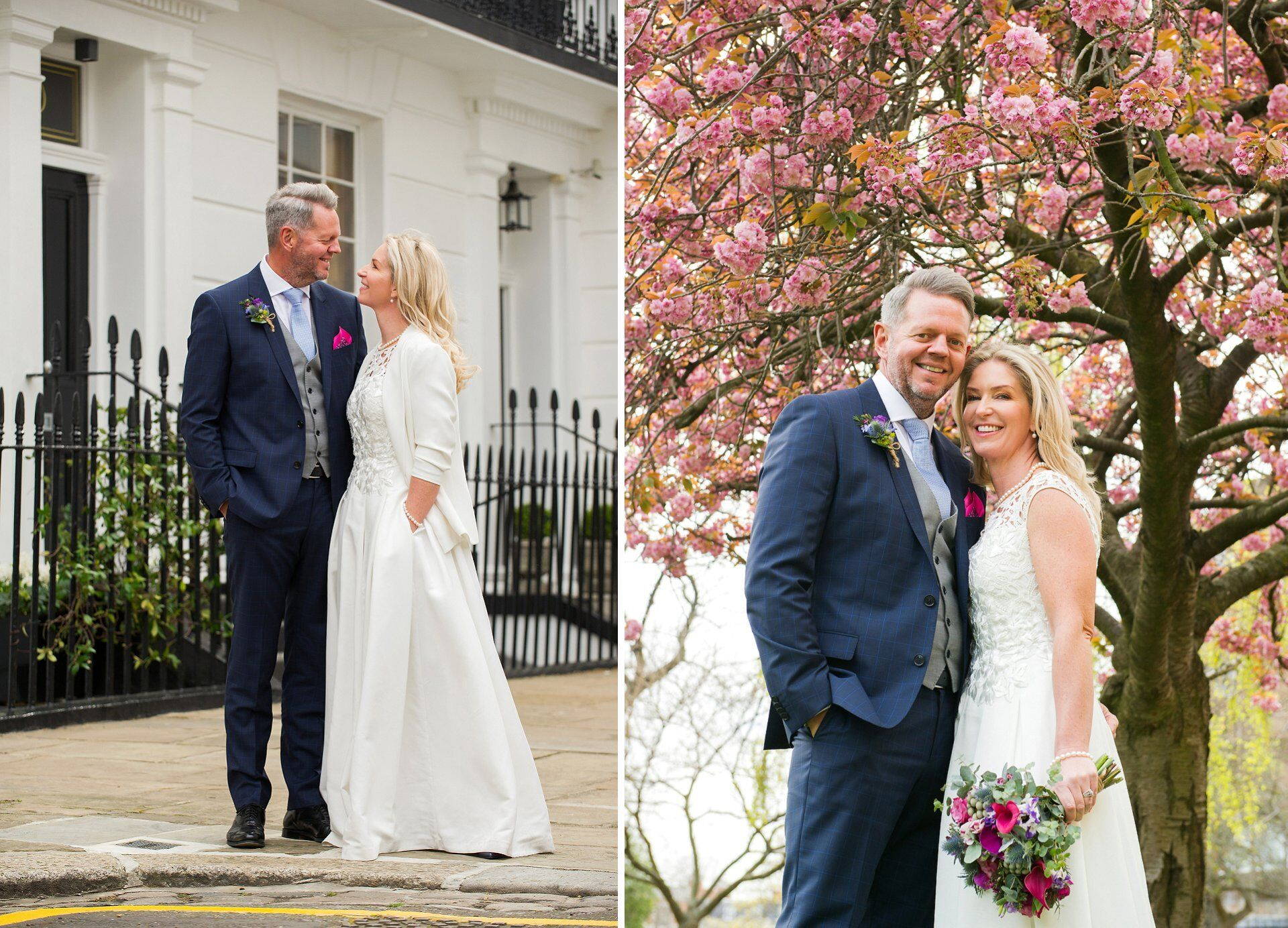 spring blossom tree and a happy couple after their chelsea old town hall wedding