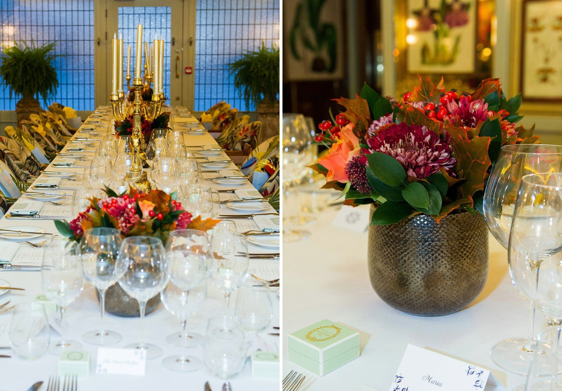 the eden room at the ivy chelsea garden laid for a wedding breakfast for 30 guests