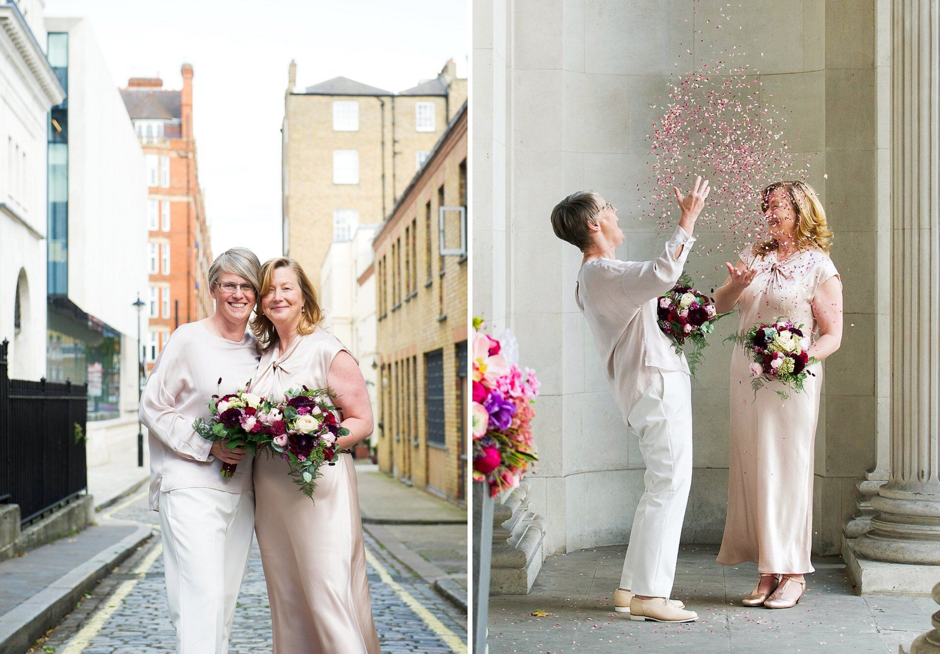 two brides wearing outfits from ghost and holding flowers by titanias garden celebrate with confetti after their paddington room elopement civil ceremony