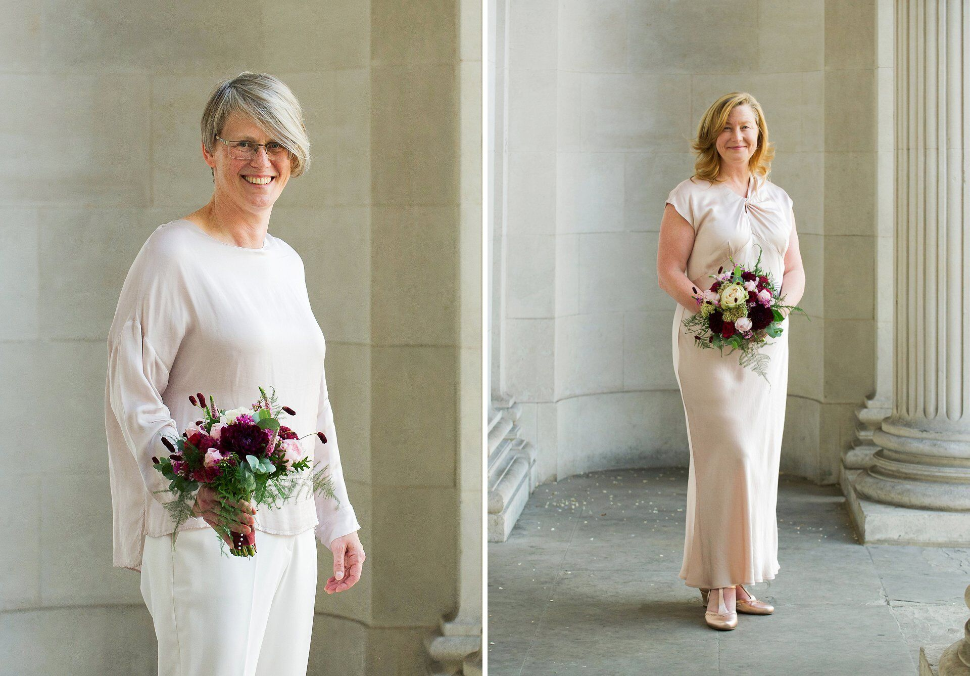 two brides with flowers from titania's garden in marylebone wearing ghost outfits pose before their paddington room wedding